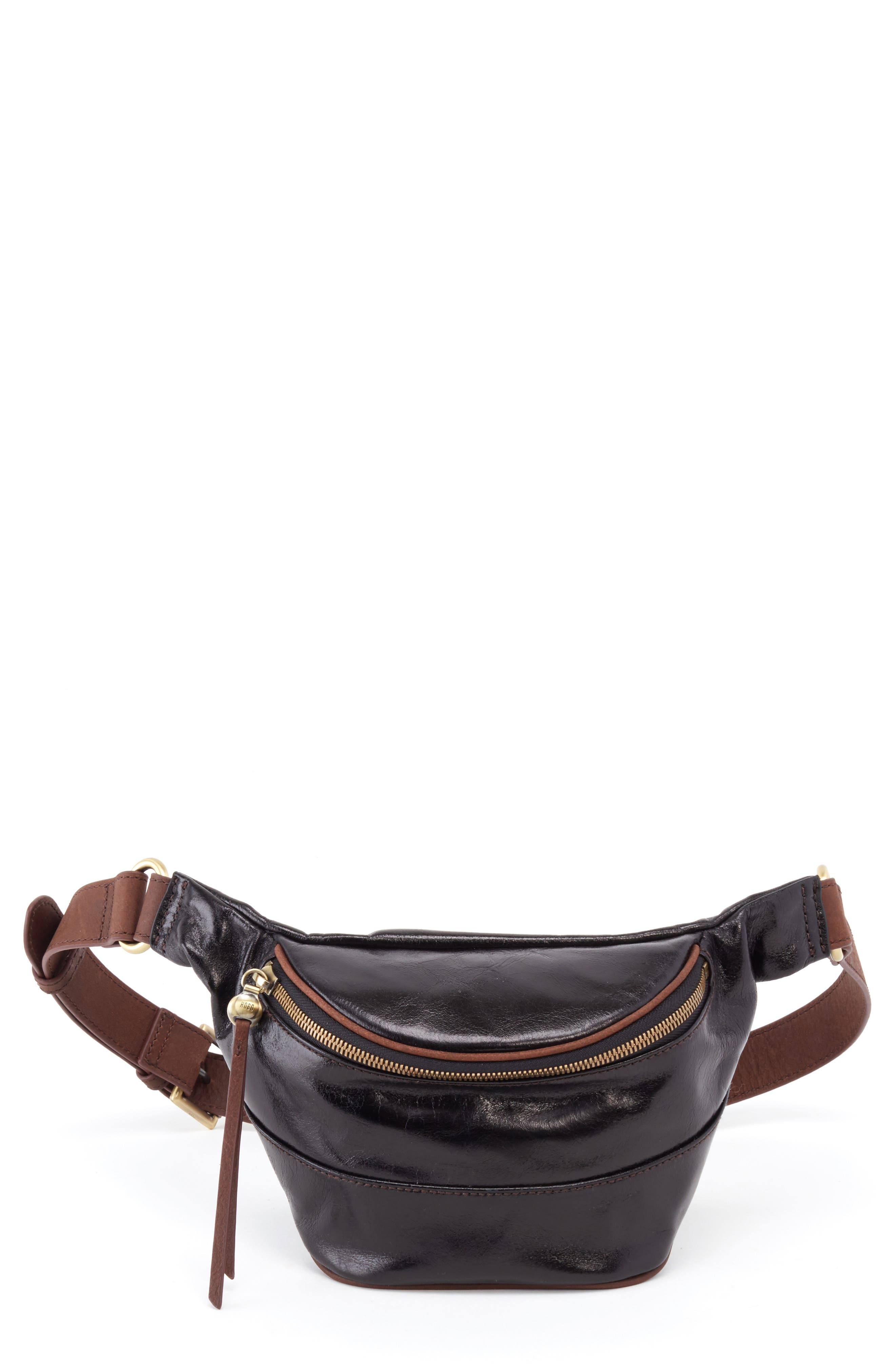 HOBO Jett Leather Belt Bag, Main, color, BLACK