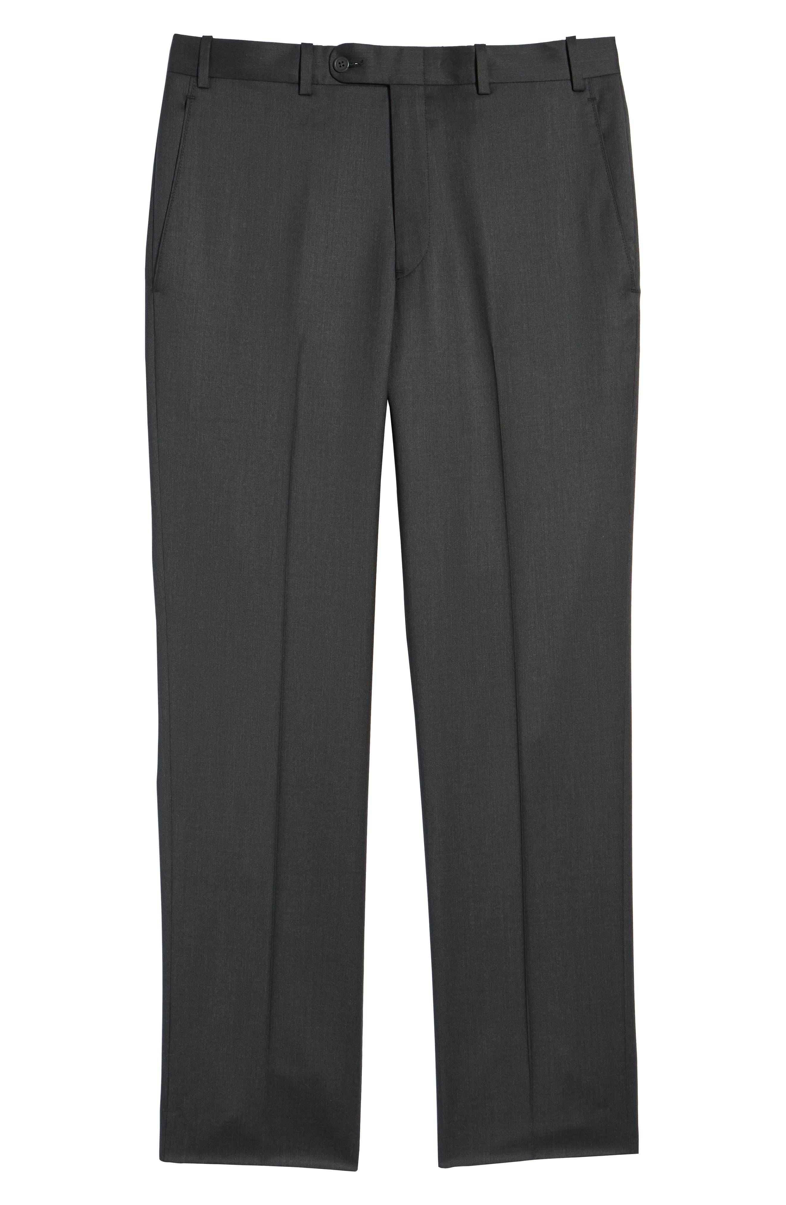 Torino Flat Front Wool Gabardine Trousers,                             Alternate thumbnail 32, color,