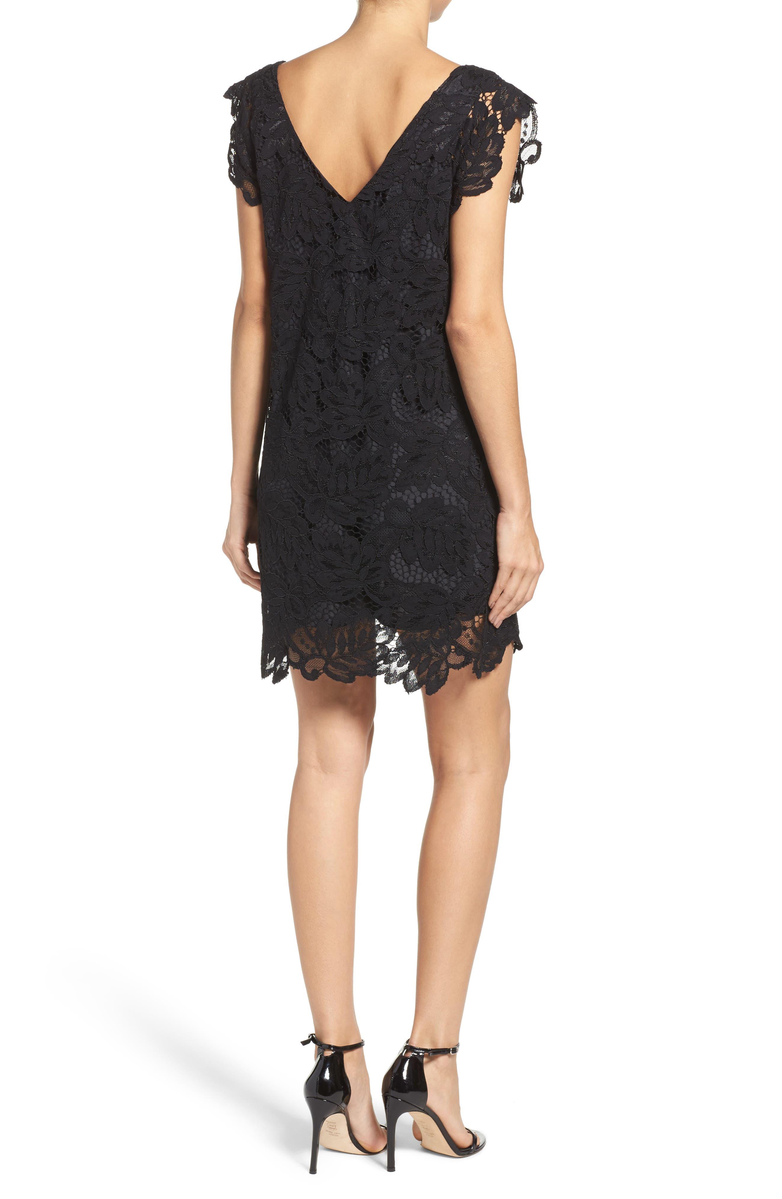 'Jacqueline' Lace Shift Dress,                             Alternate thumbnail 2, color,                             BLACK