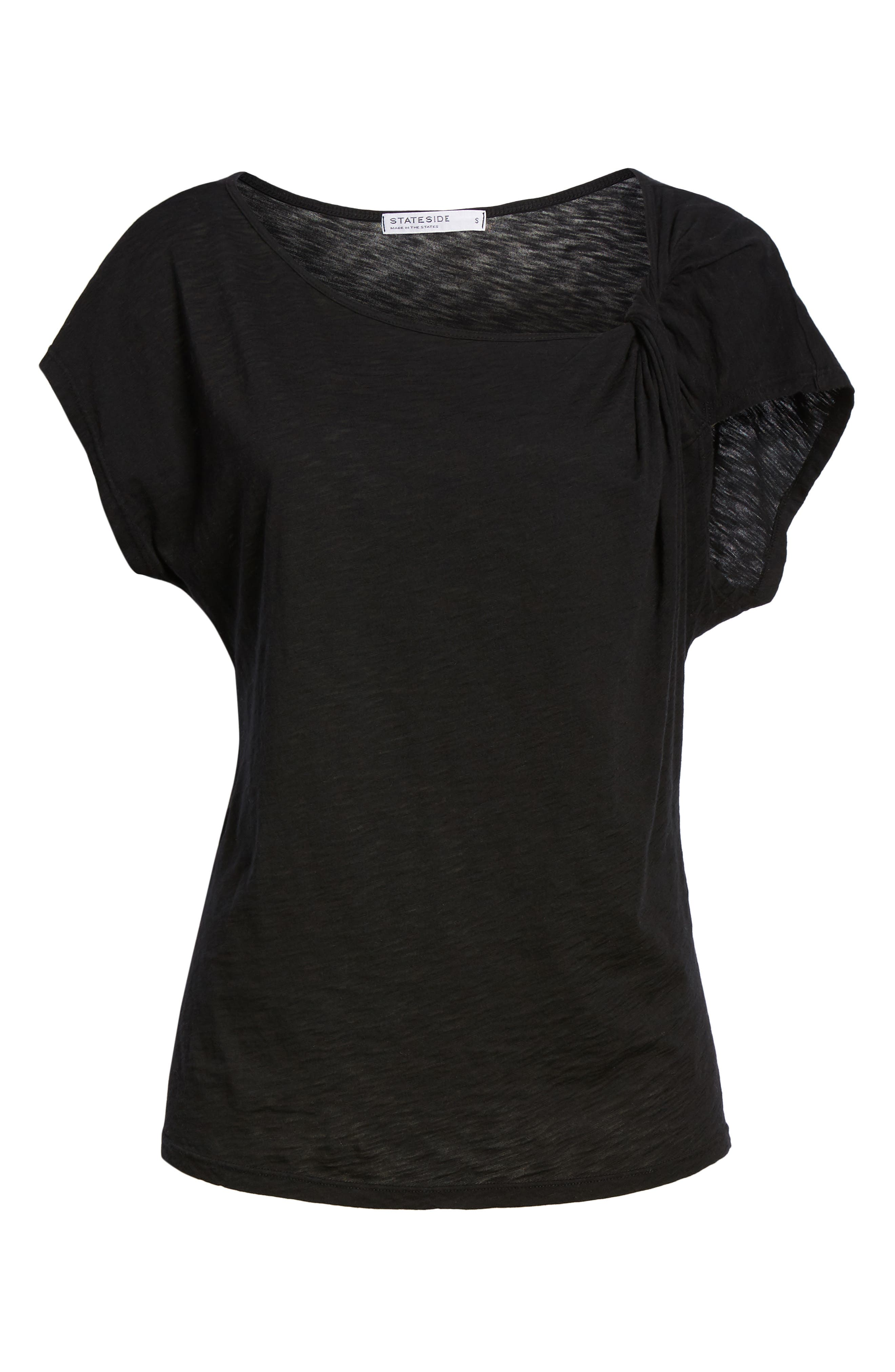 Twist Neck Tee,                             Alternate thumbnail 6, color,                             BLACK