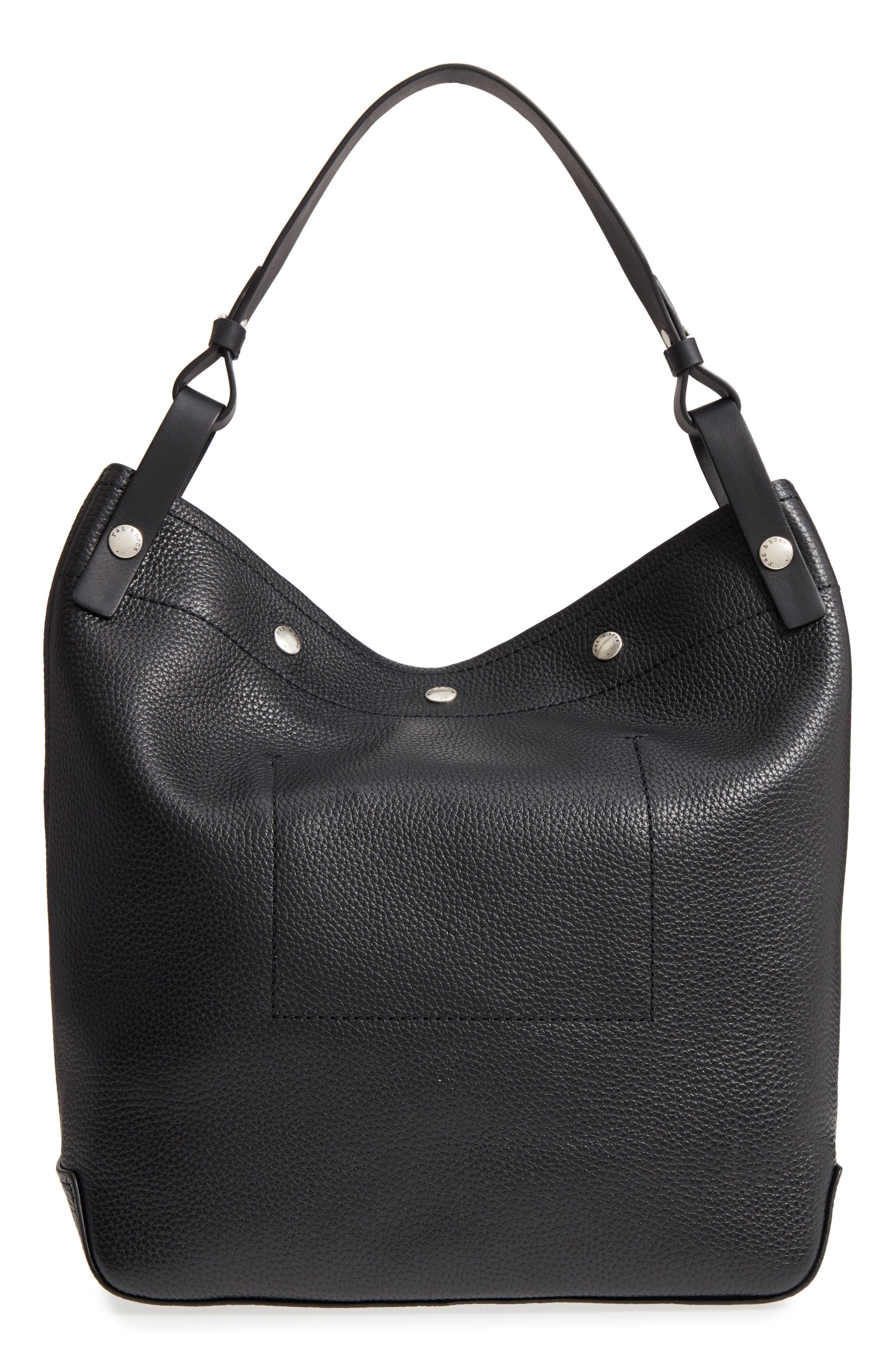 Compass Snap Hobo,                             Alternate thumbnail 3, color,                             BLACK