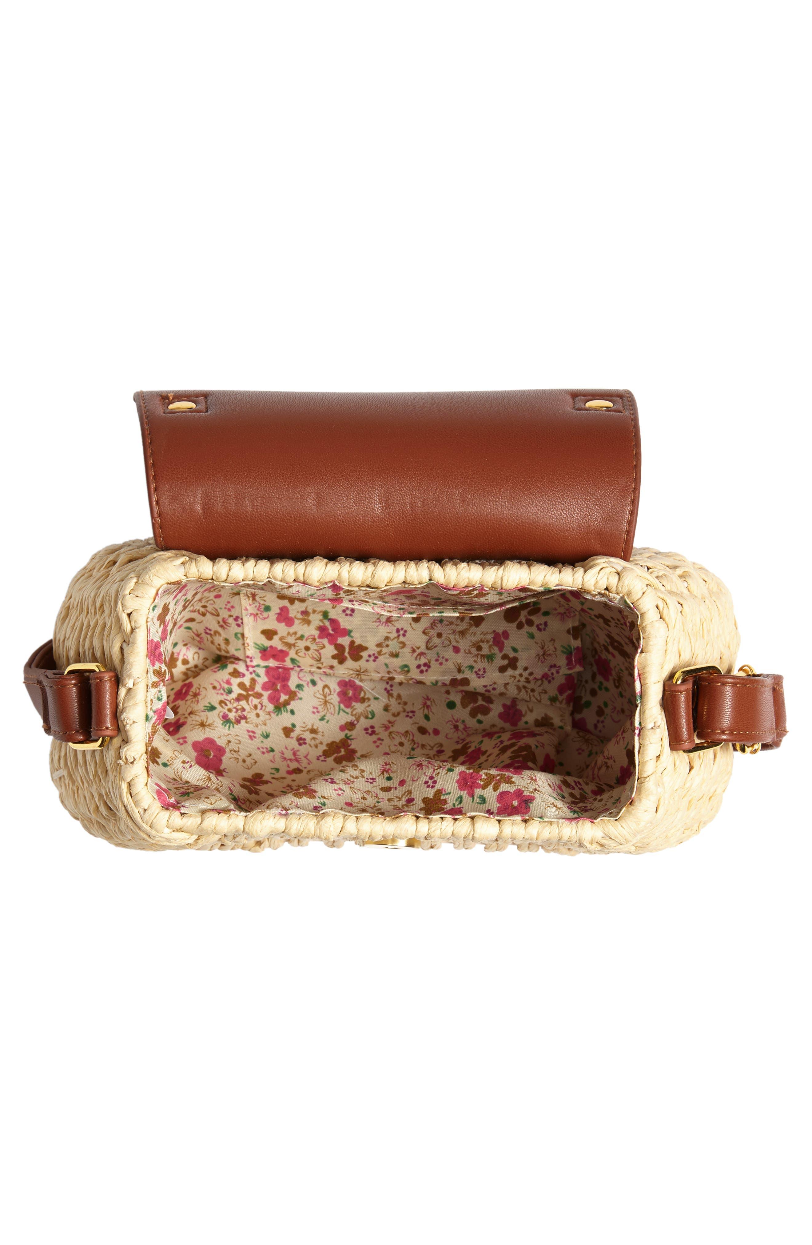 Faux Leather Trim Straw Saddle Bag,                             Alternate thumbnail 4, color,                             NATURAL/ COGNAC