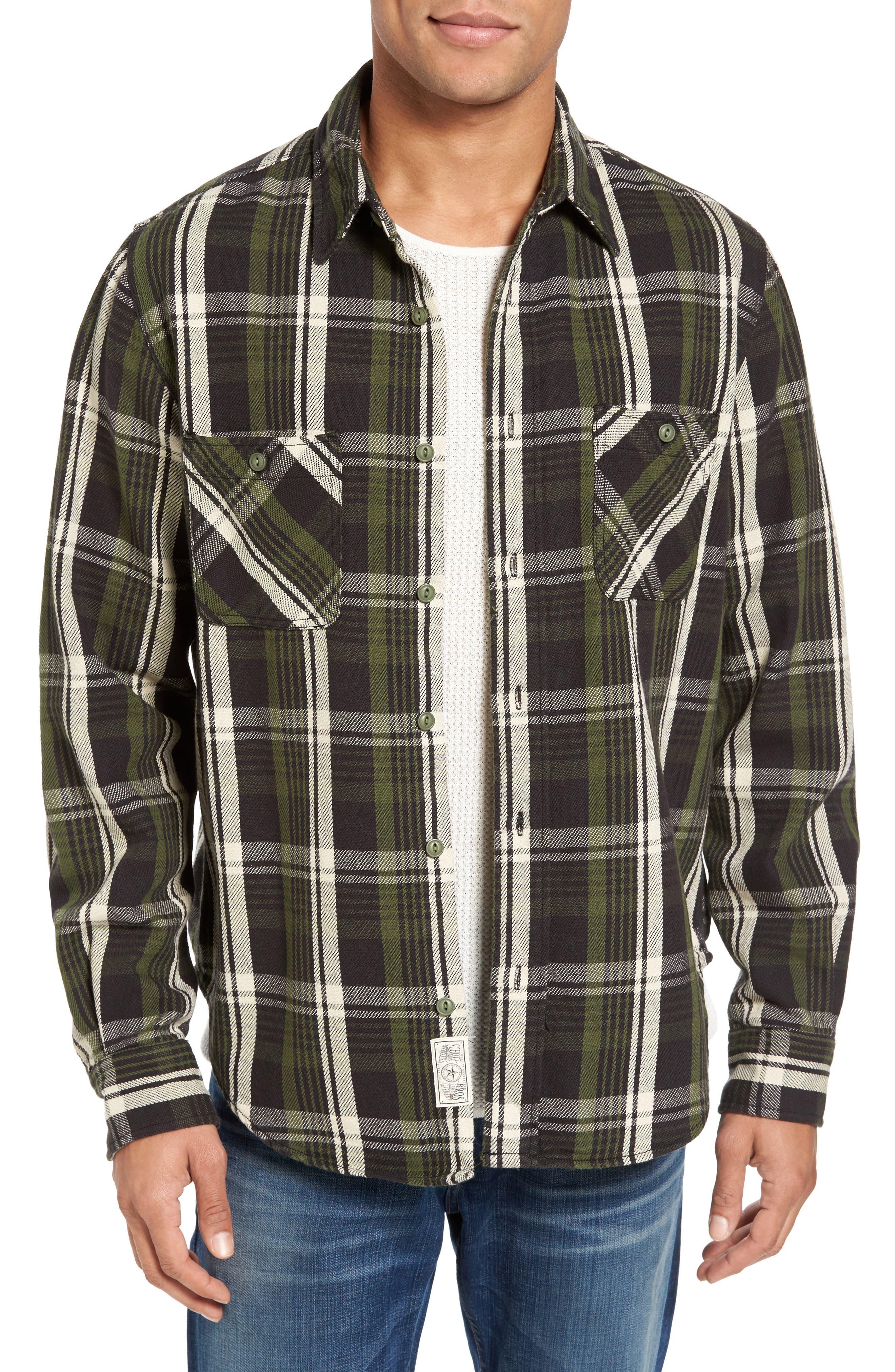 Classic Fit Plaid Flannel Shirt,                             Alternate thumbnail 4, color,