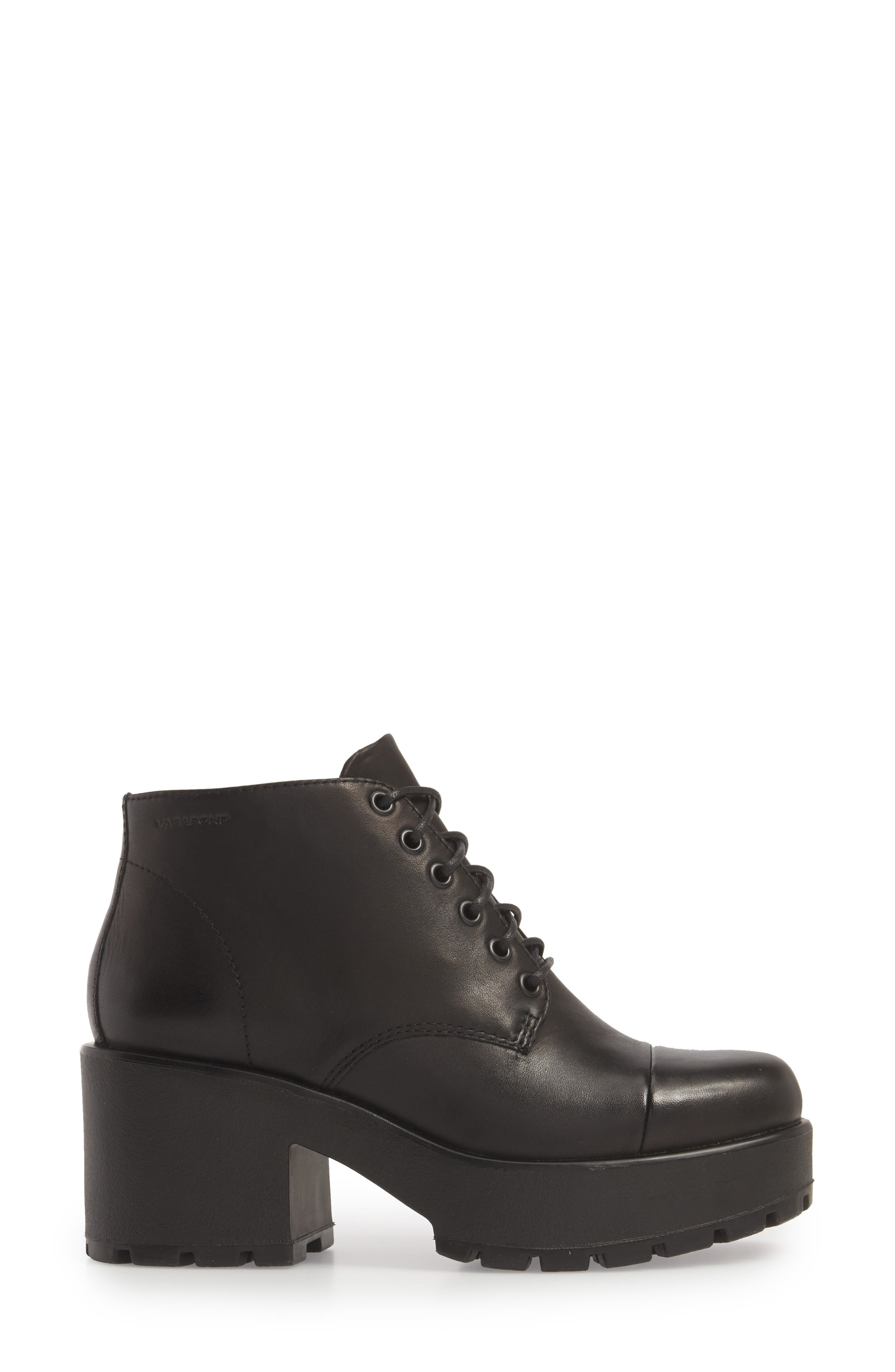 VAGABOND,                             Shoemakers Dioon Cap Toe Bootie,                             Alternate thumbnail 3, color,                             BLACK LEATHER