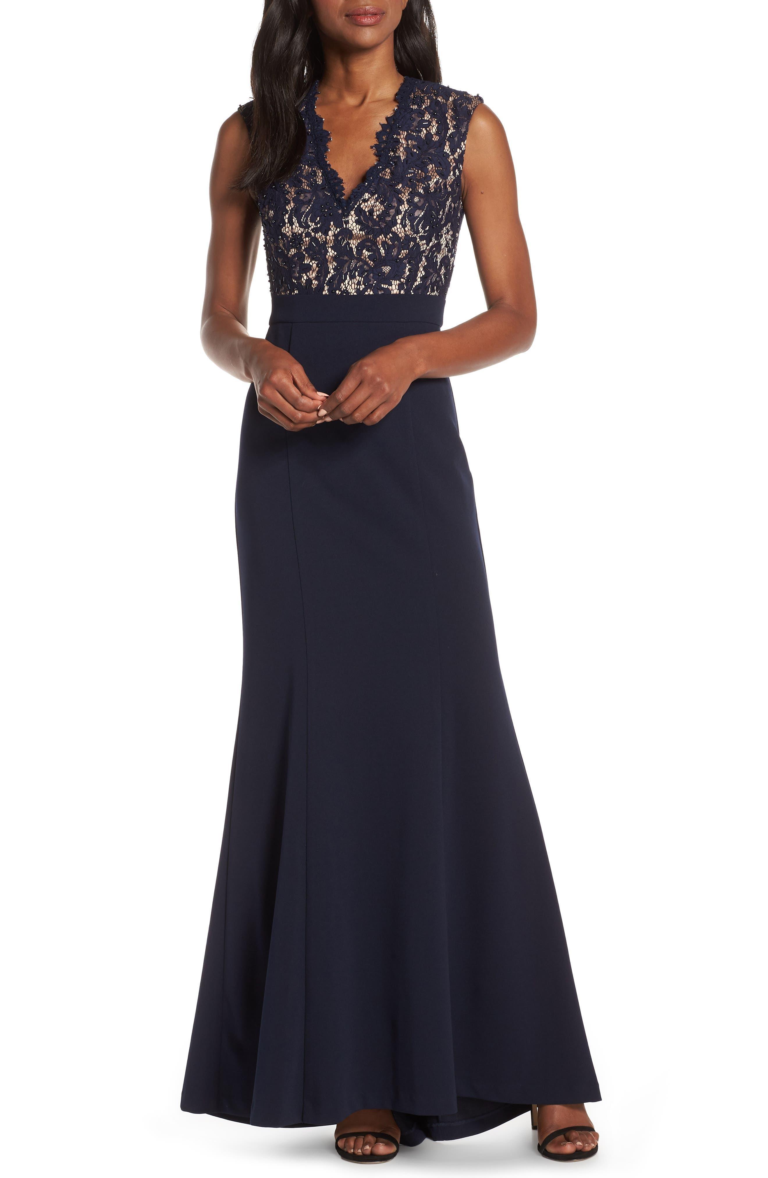 1960s Dresses | 60s Dresses Mod, Mini, Jackie O, Hippie Womens Eliza J Lace Bodice Trumpet Evening Dress Size 4 - Blue $201.00 AT vintagedancer.com