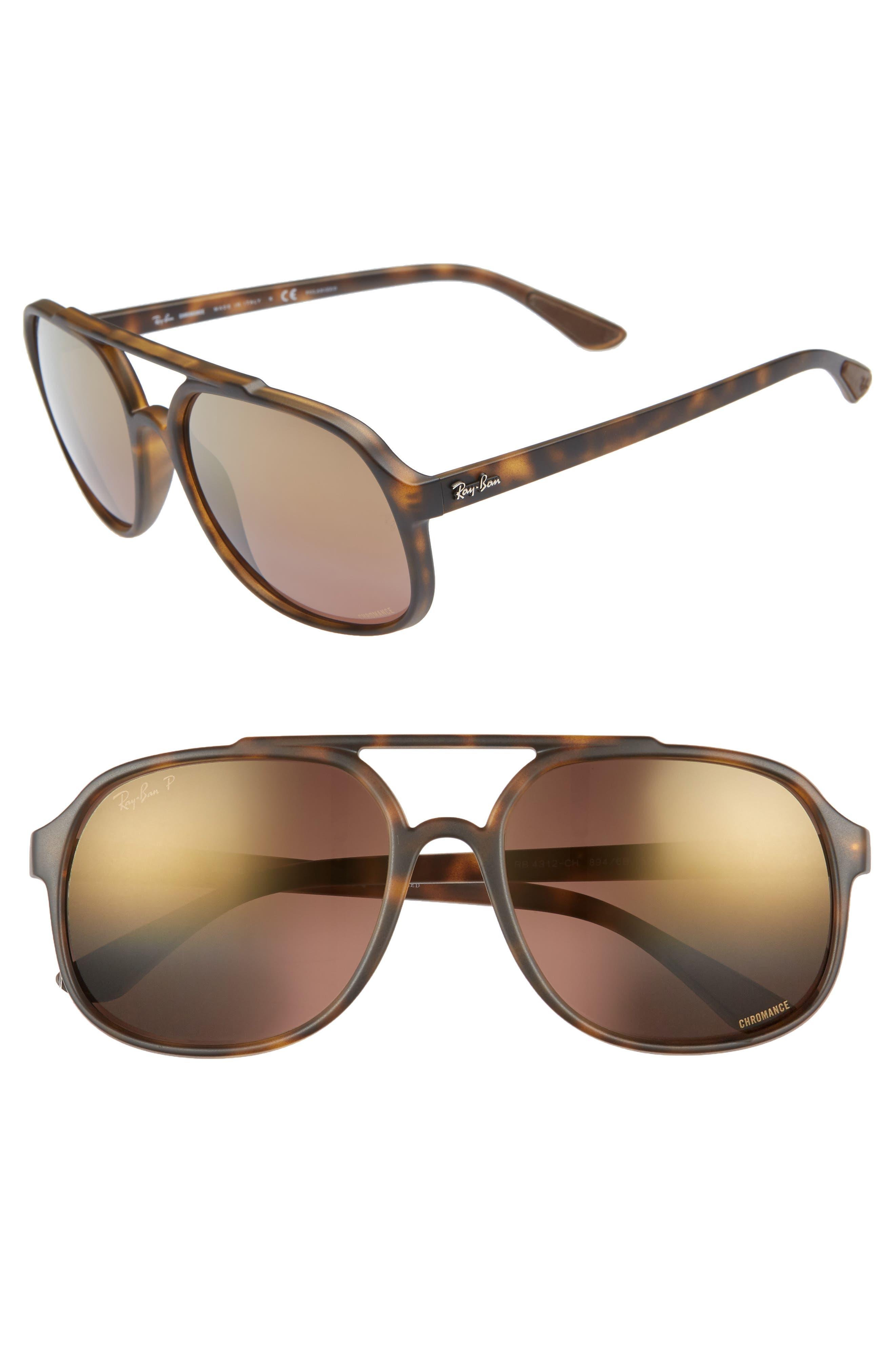 Ray-Ban 57Mm Polarized Navigator Sunglasses - Havana