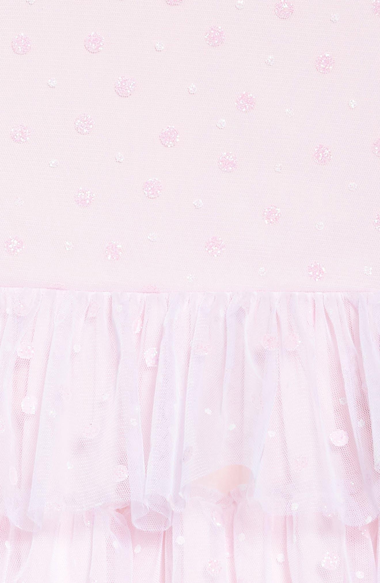 Glitter Dot Fit & Flare Mesh Dress,                             Alternate thumbnail 3, color,                             PINK