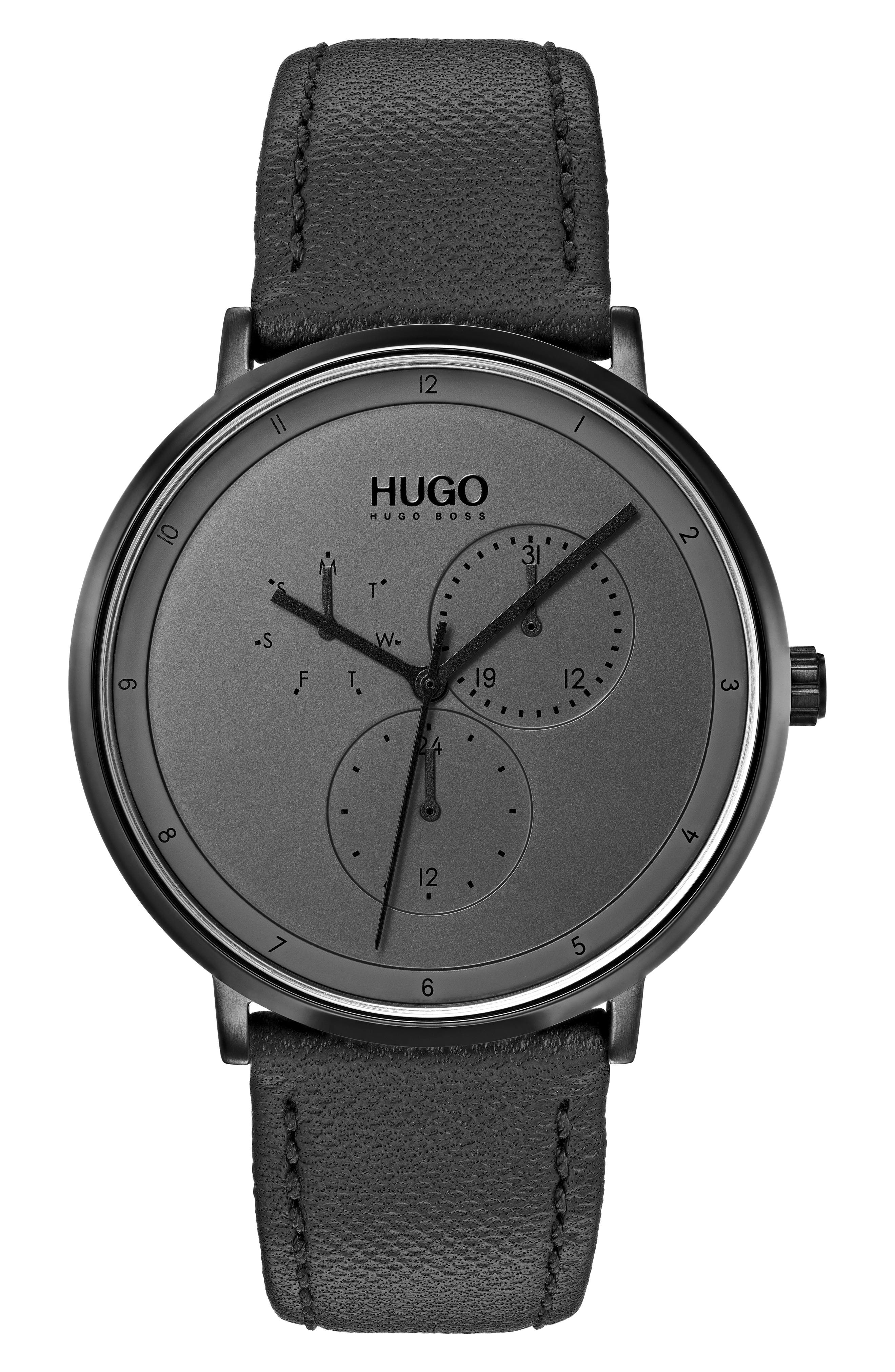 HUGO Ultra Slim Leather Strap Watch, 40Mm in Grey