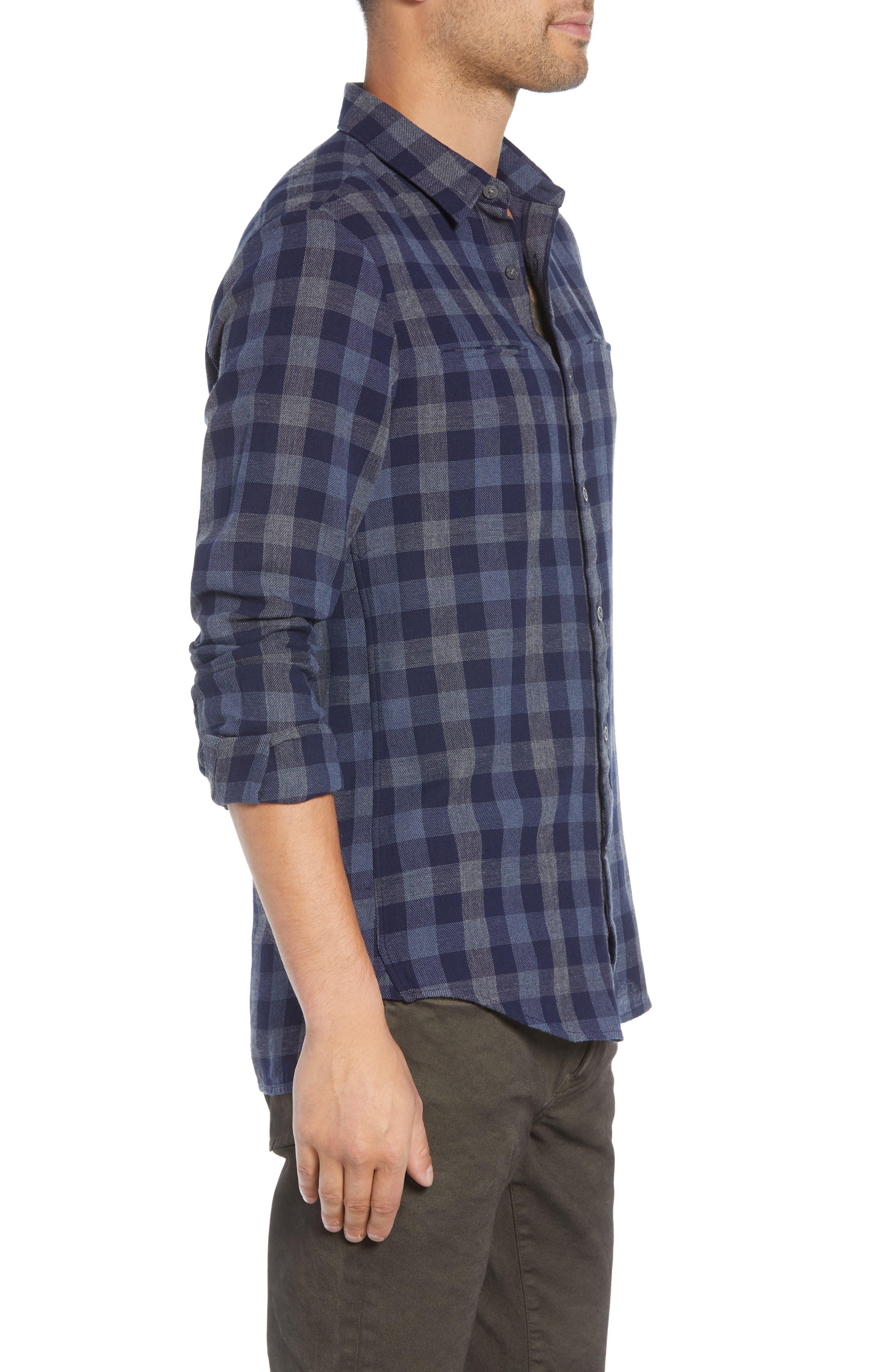 JOHN VARVATOS STAR USA,                             Regular Fit Plaid Sport Shirt,                             Alternate thumbnail 4, color,                             NAVY