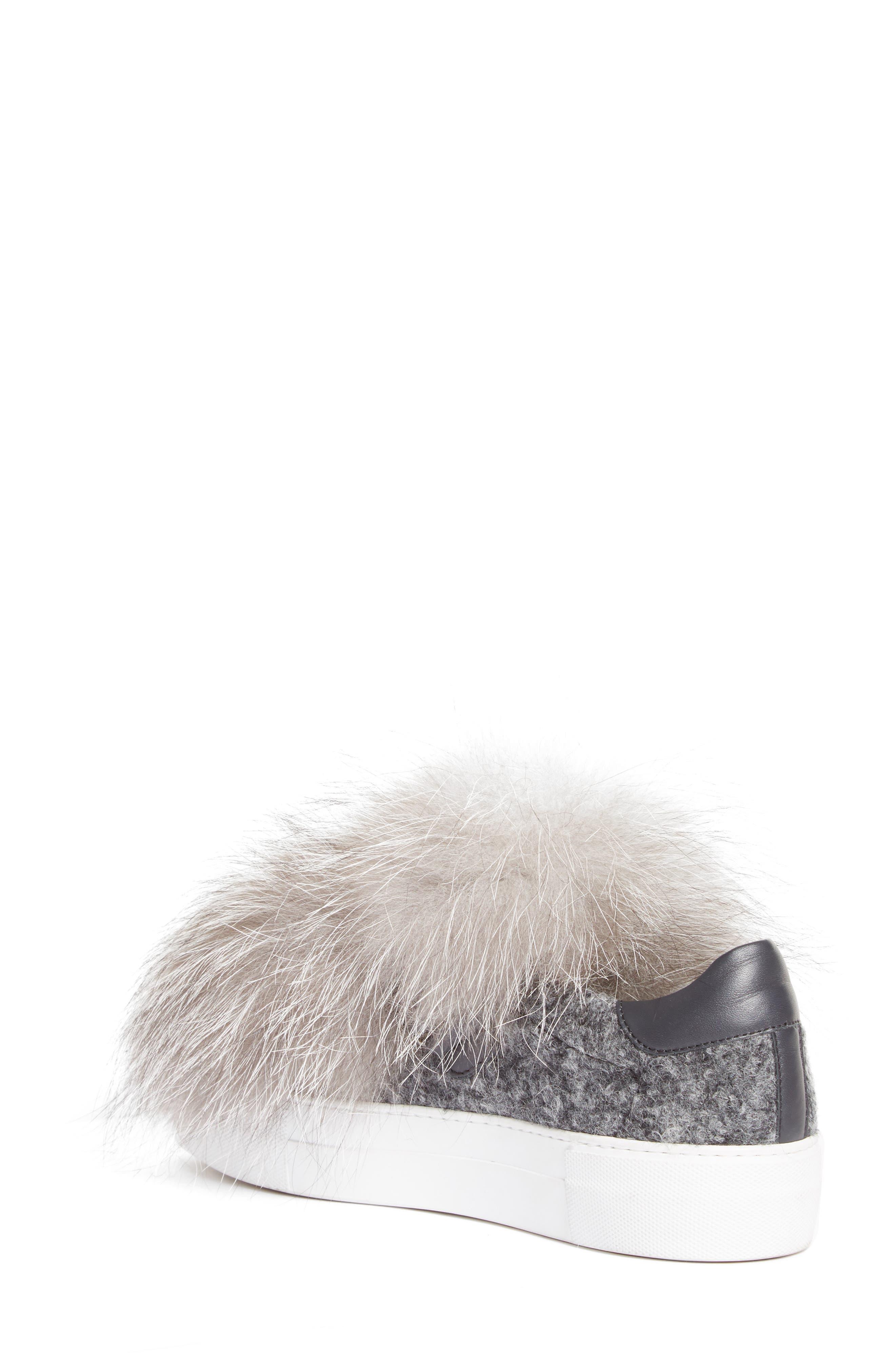 Victoire Genuine Fox Fur Slip-On Sneaker,                             Alternate thumbnail 2, color,                             020