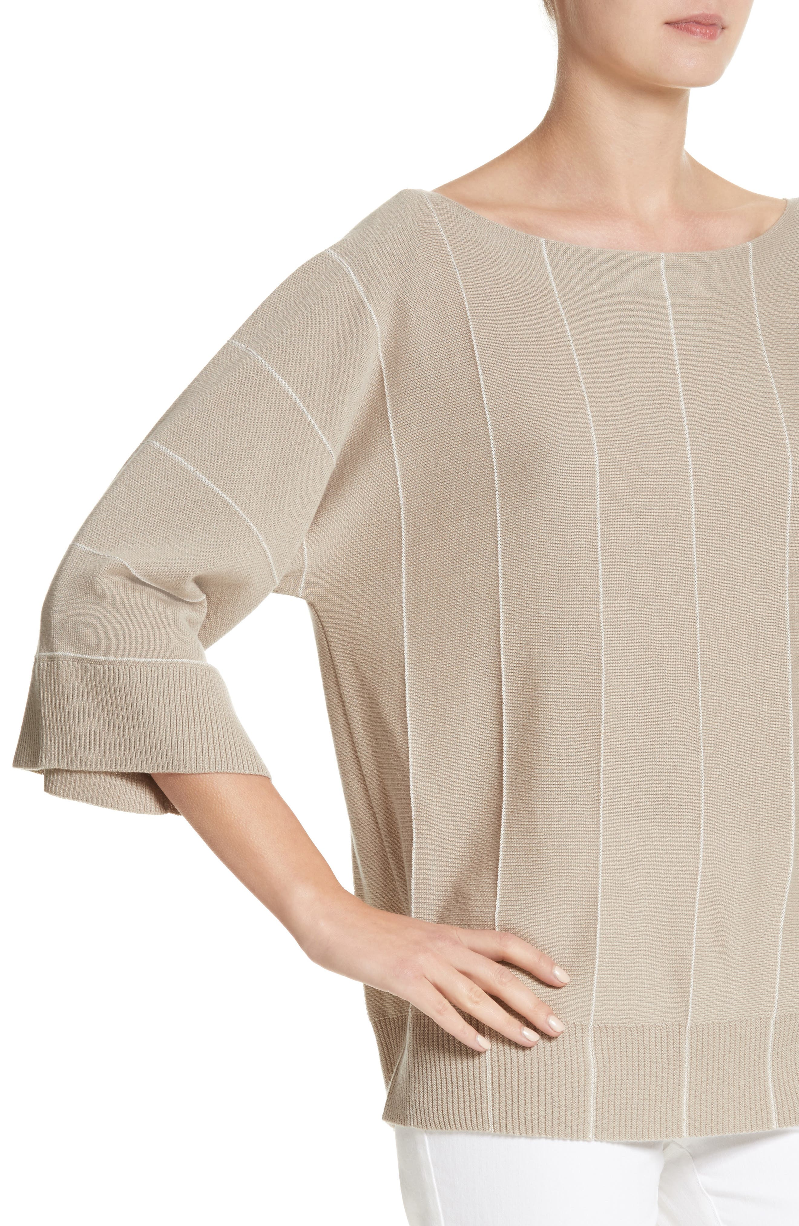 Sequin Knit Cashmere & Silk Pullover,                             Alternate thumbnail 4, color,                             200