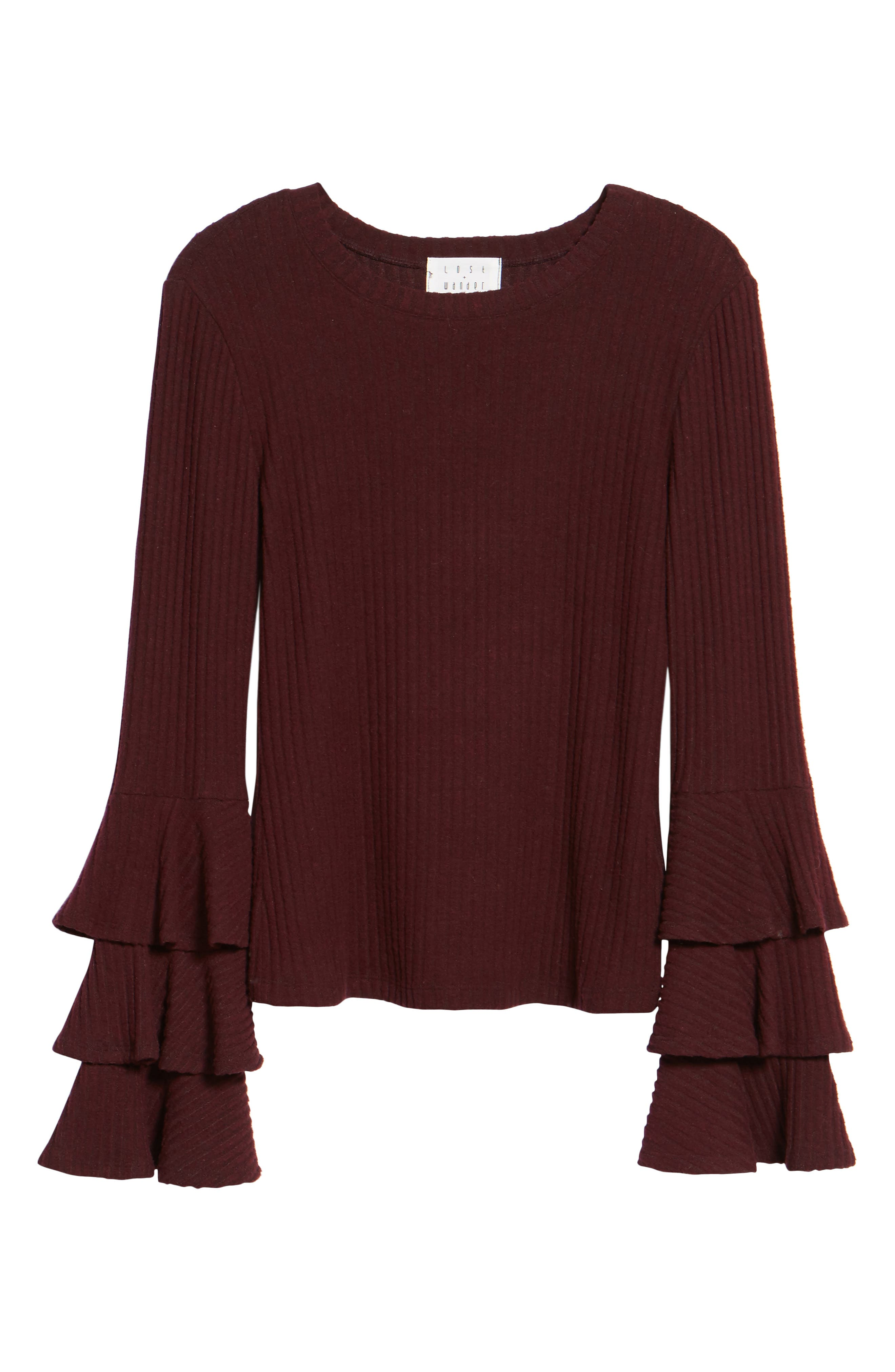Marie Ruffle Sleeve Top,                             Alternate thumbnail 6, color,                             930