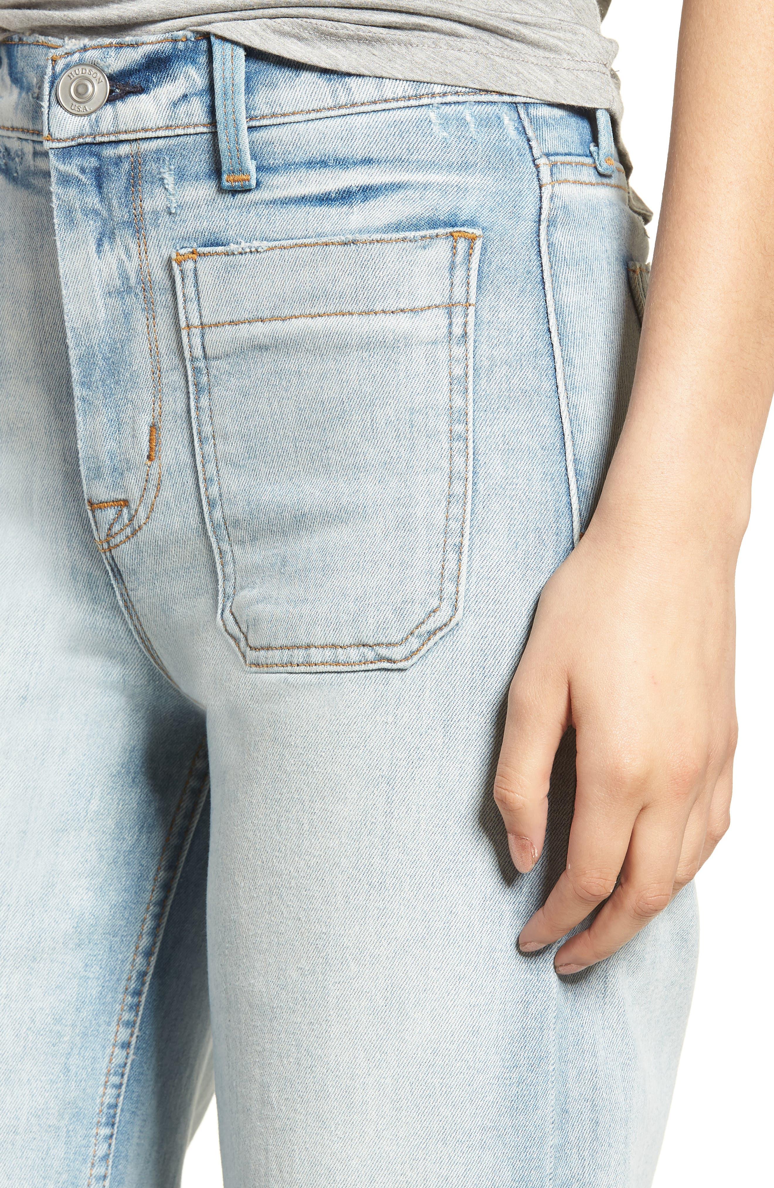 Holly High Waist Released Hem Crop Wide Leg Jeans,                             Alternate thumbnail 4, color,                             460
