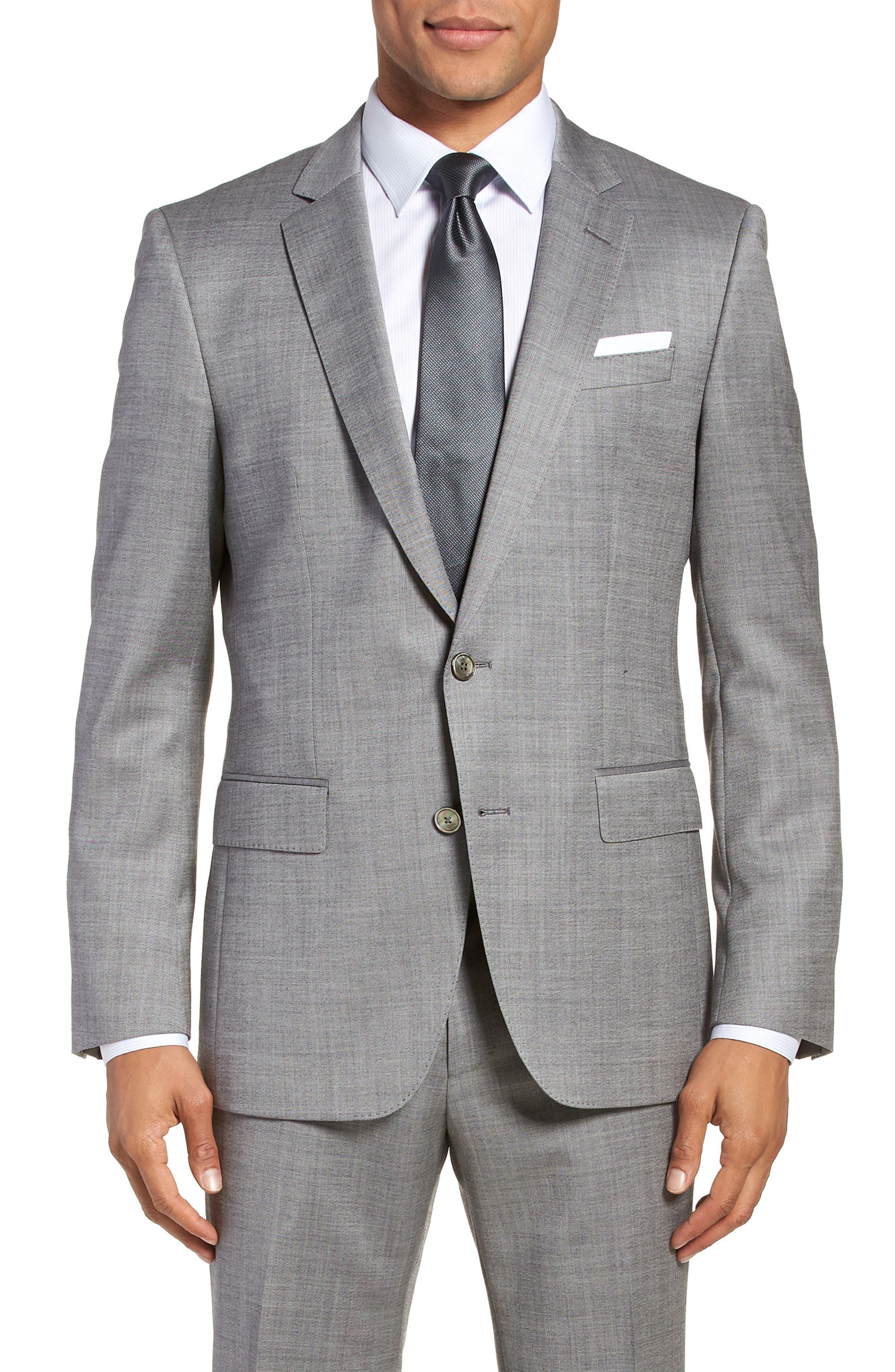 Hutsons/Gander Trim Fit Solid Wool & Silk Suit,                             Alternate thumbnail 5, color,                             020