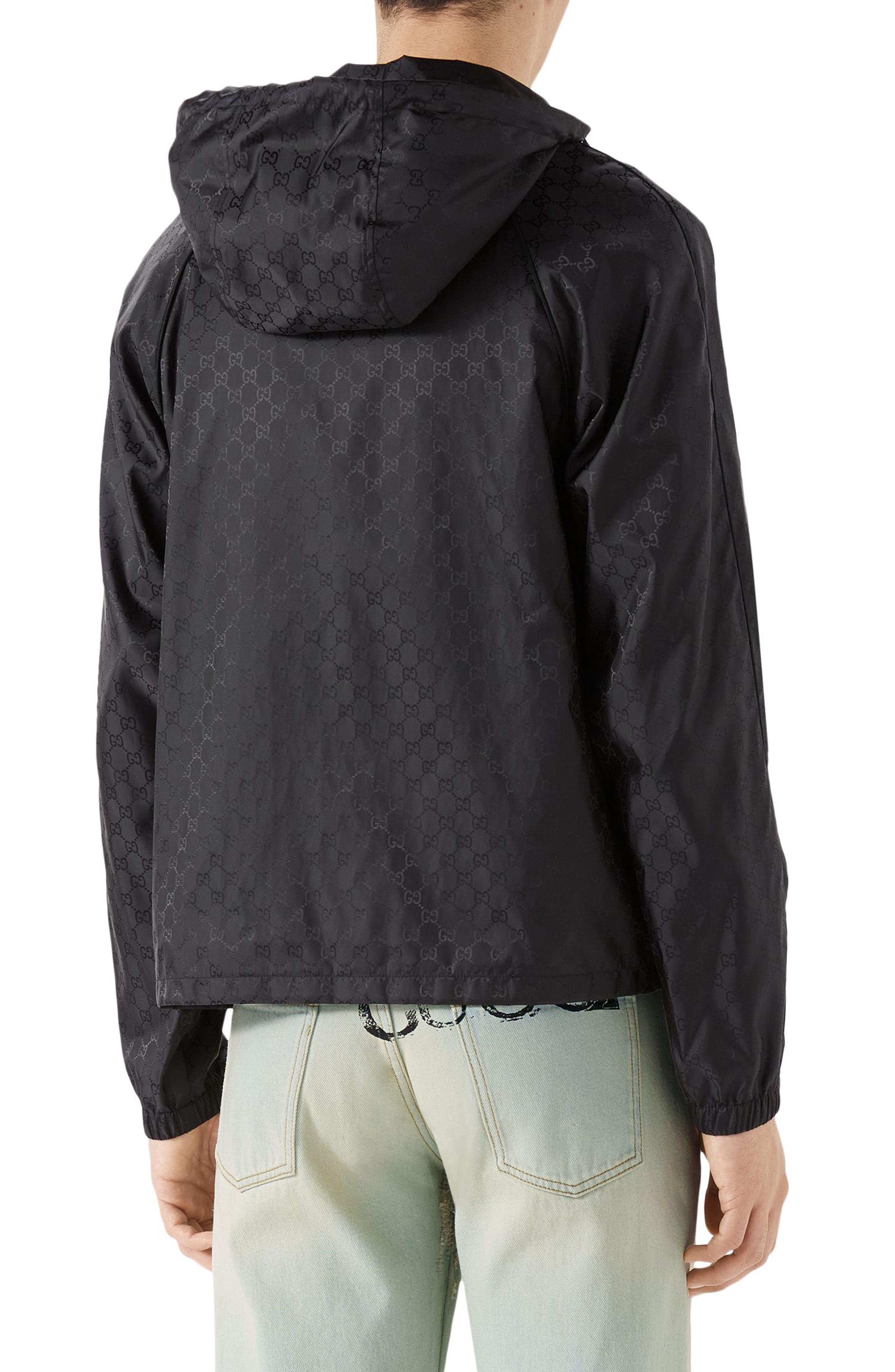 GG Jacquard Print Nylon Jacket,                             Alternate thumbnail 2, color,                             BLACK