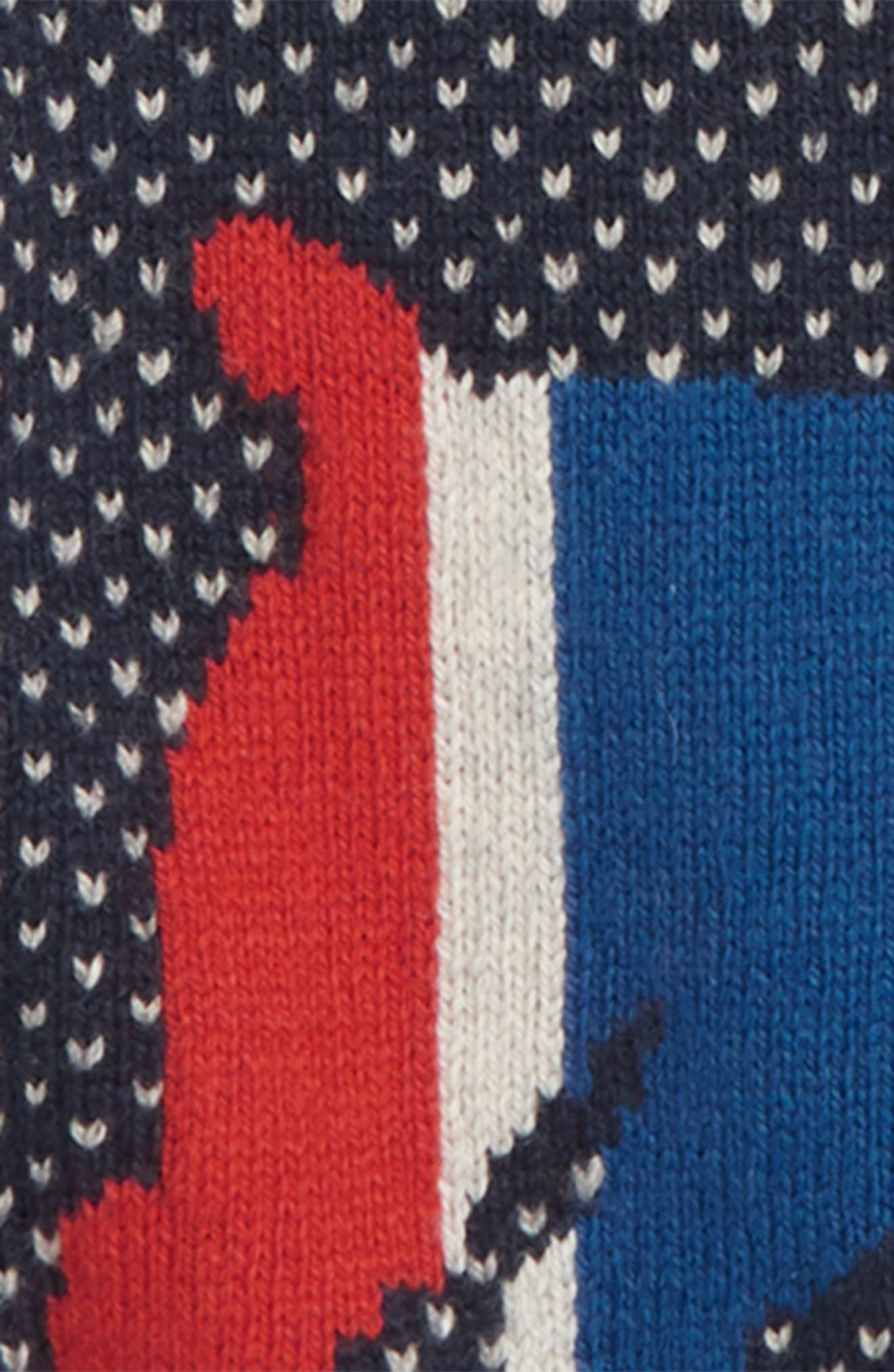 Intarsia Dog Sweater,                             Alternate thumbnail 3, color,                             SCHOOL NAVY RAINBOW
