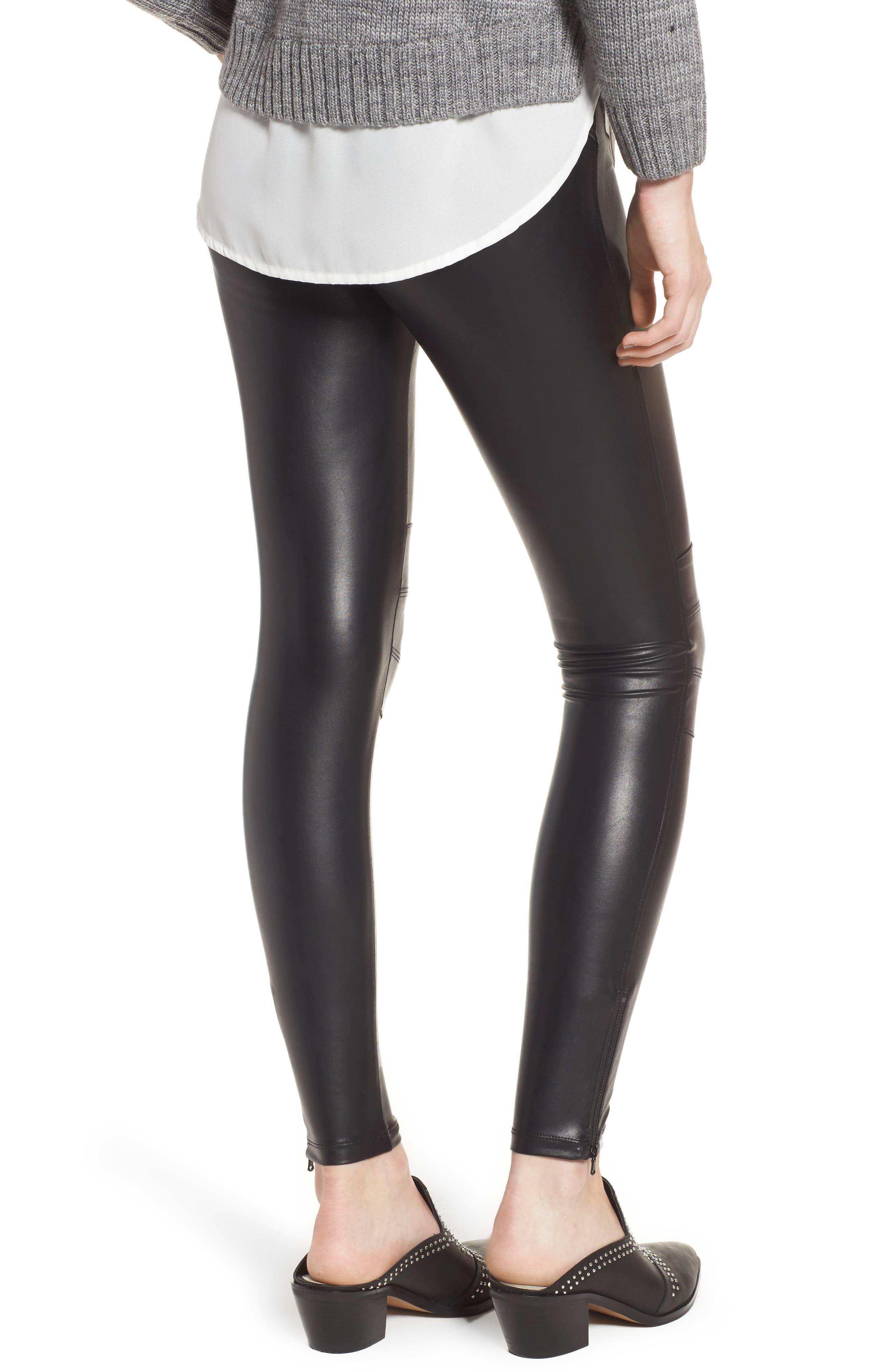 Zip Cuff Faux Leather Moto Leggings,                             Alternate thumbnail 2, color,                             BLACK