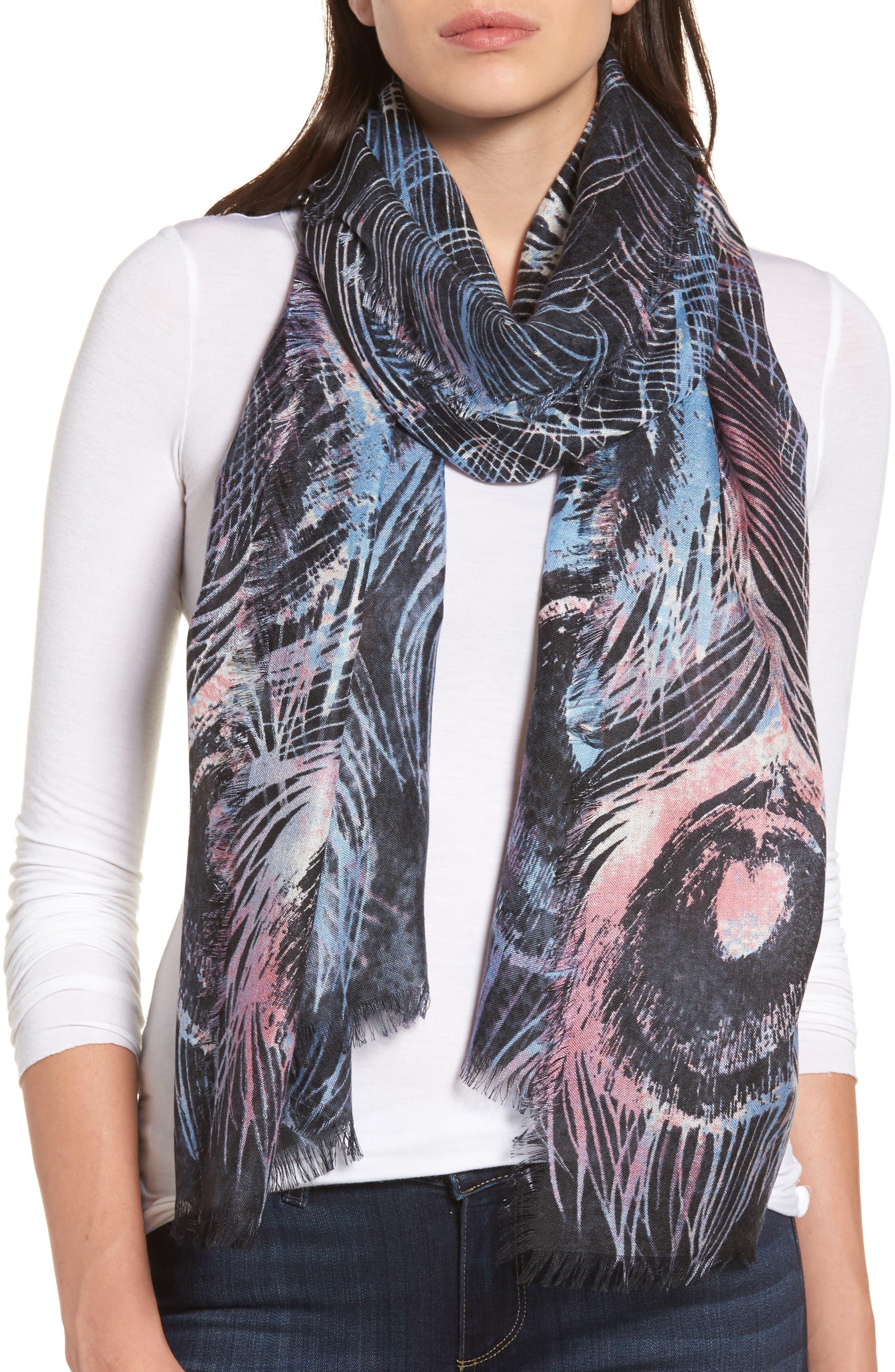 Modern Peacock Silk & Cashmere Scarf,                         Main,                         color, 001