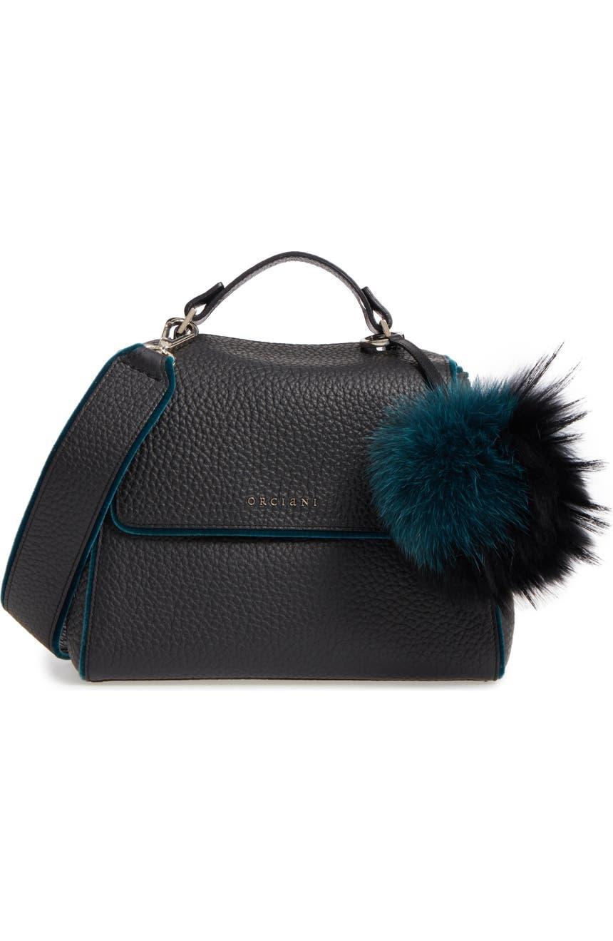 Orciani Small Sveva Soft Leather Top Handle Satchel with Genuine Fur Bag  Charm  899e6bcac16dc