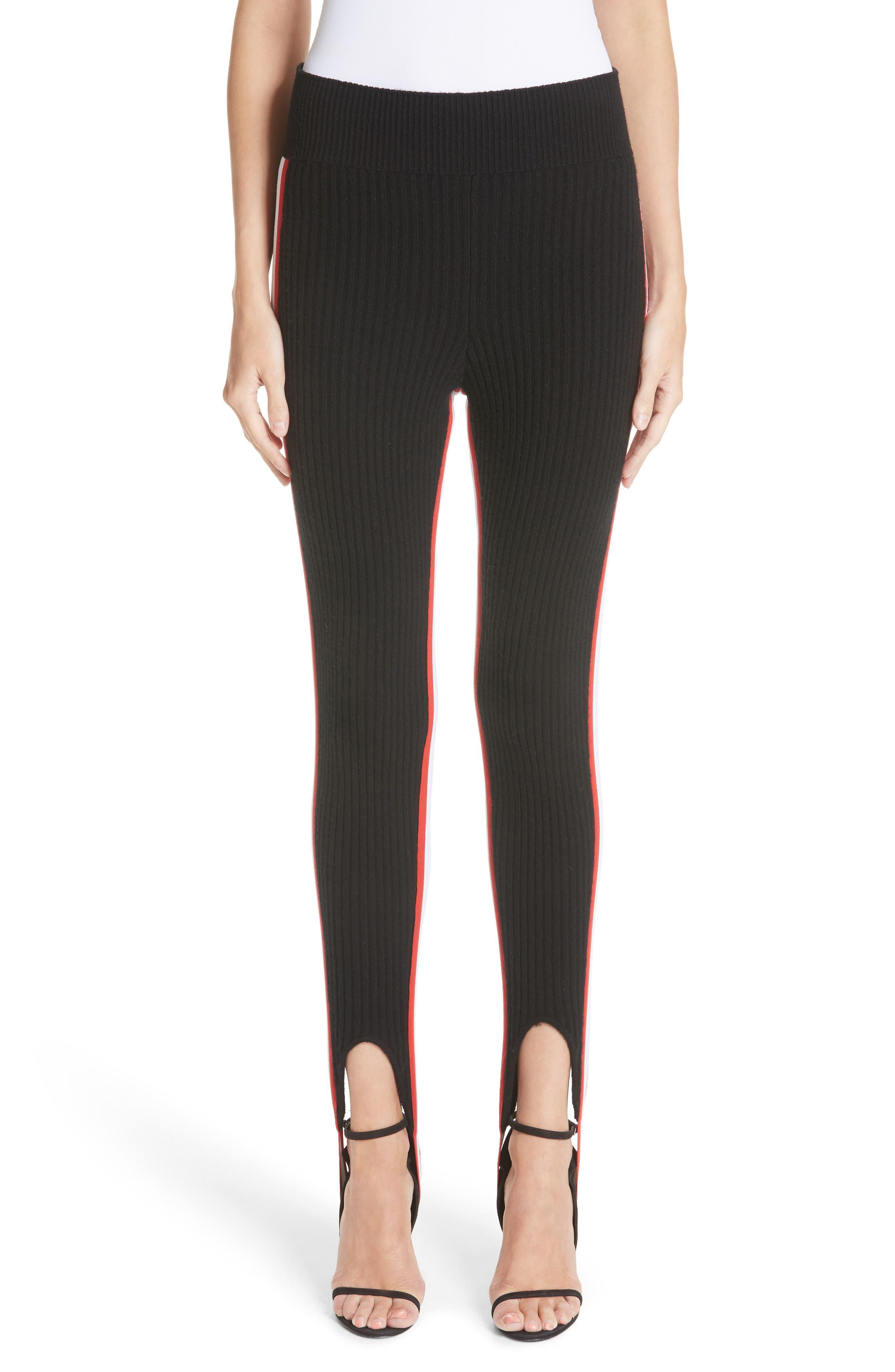 CALVIN KLEIN 205W39NYC Side Stripe Stretch Wool Stirrup Leggings, Main, color, 001