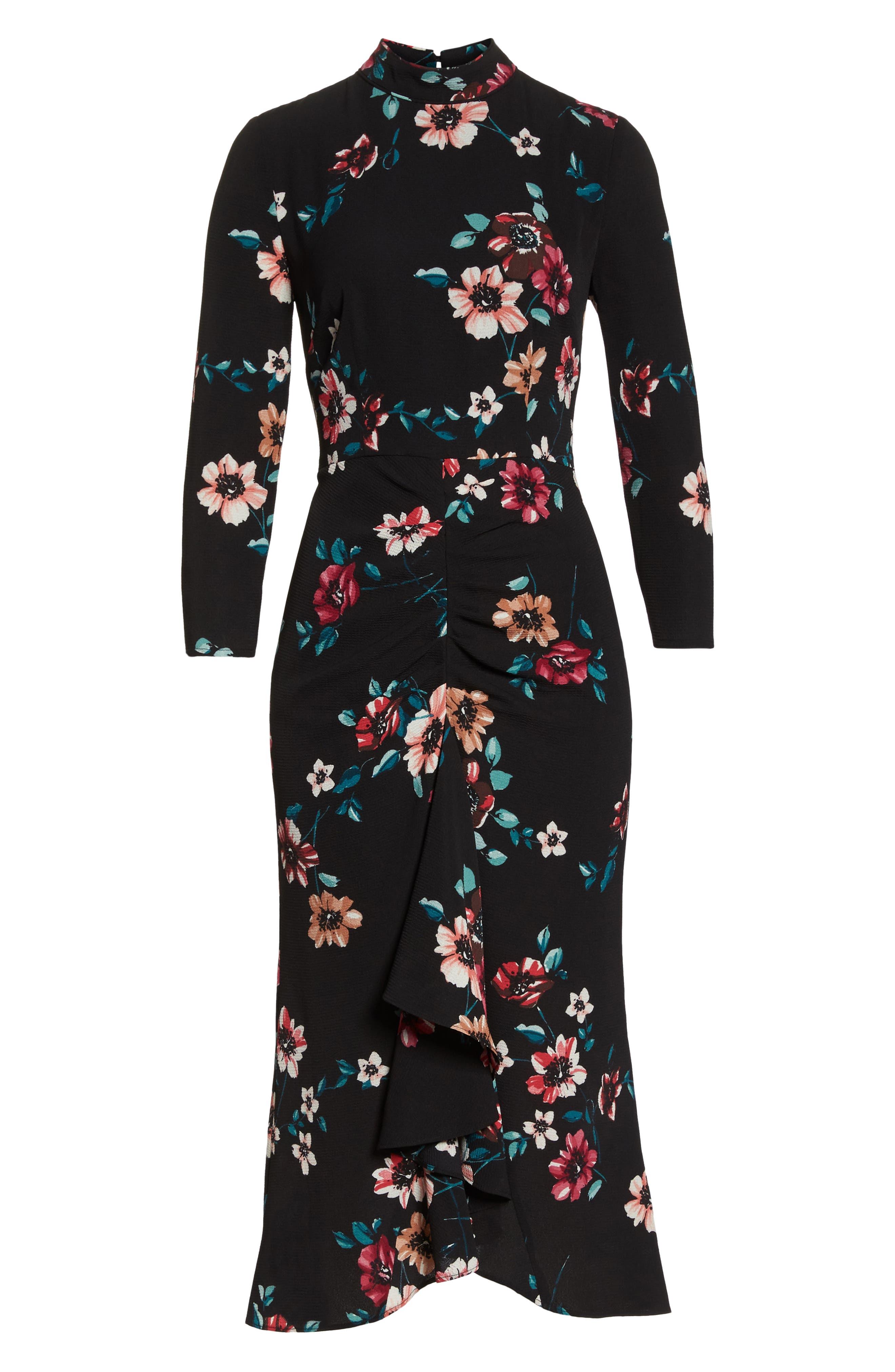 Floral Ruffle Midi Dress,                             Alternate thumbnail 7, color,                             001