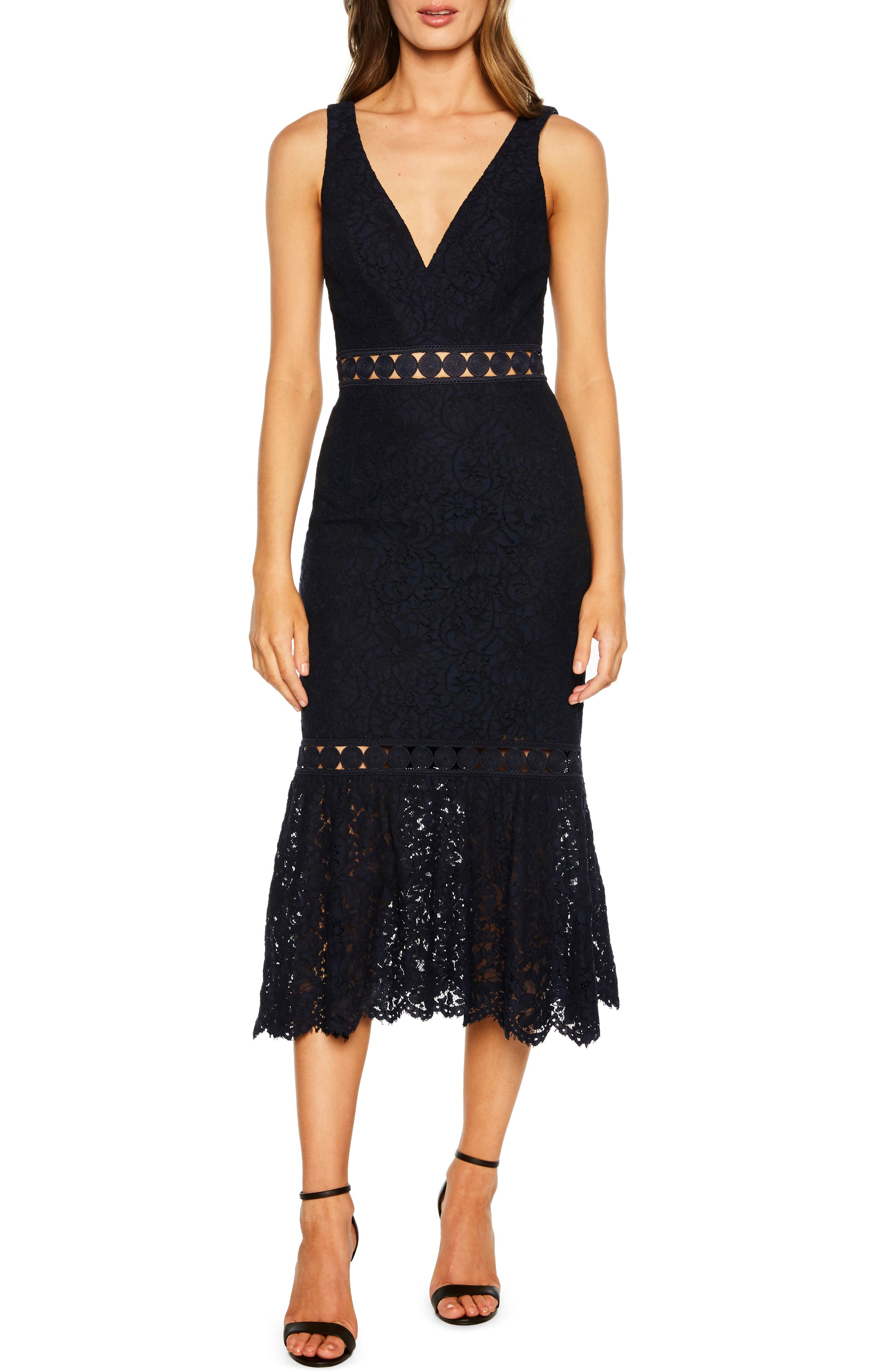 Bardot Fiona Lace Trumpet Dress, Blue