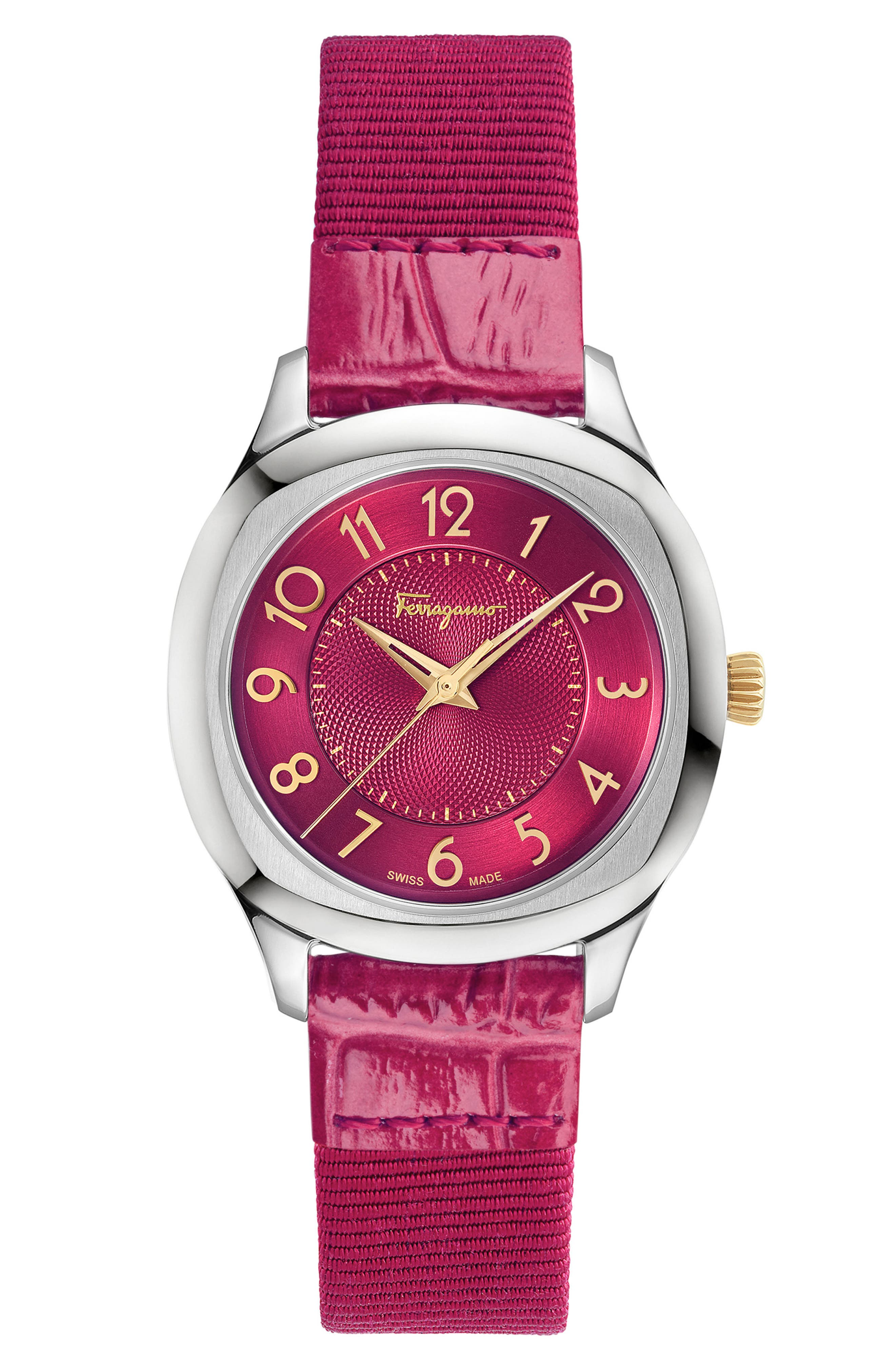 Dual Leather Strap Watch, 36mm,                             Alternate thumbnail 5, color,                             FUCHSIA/ SILVER