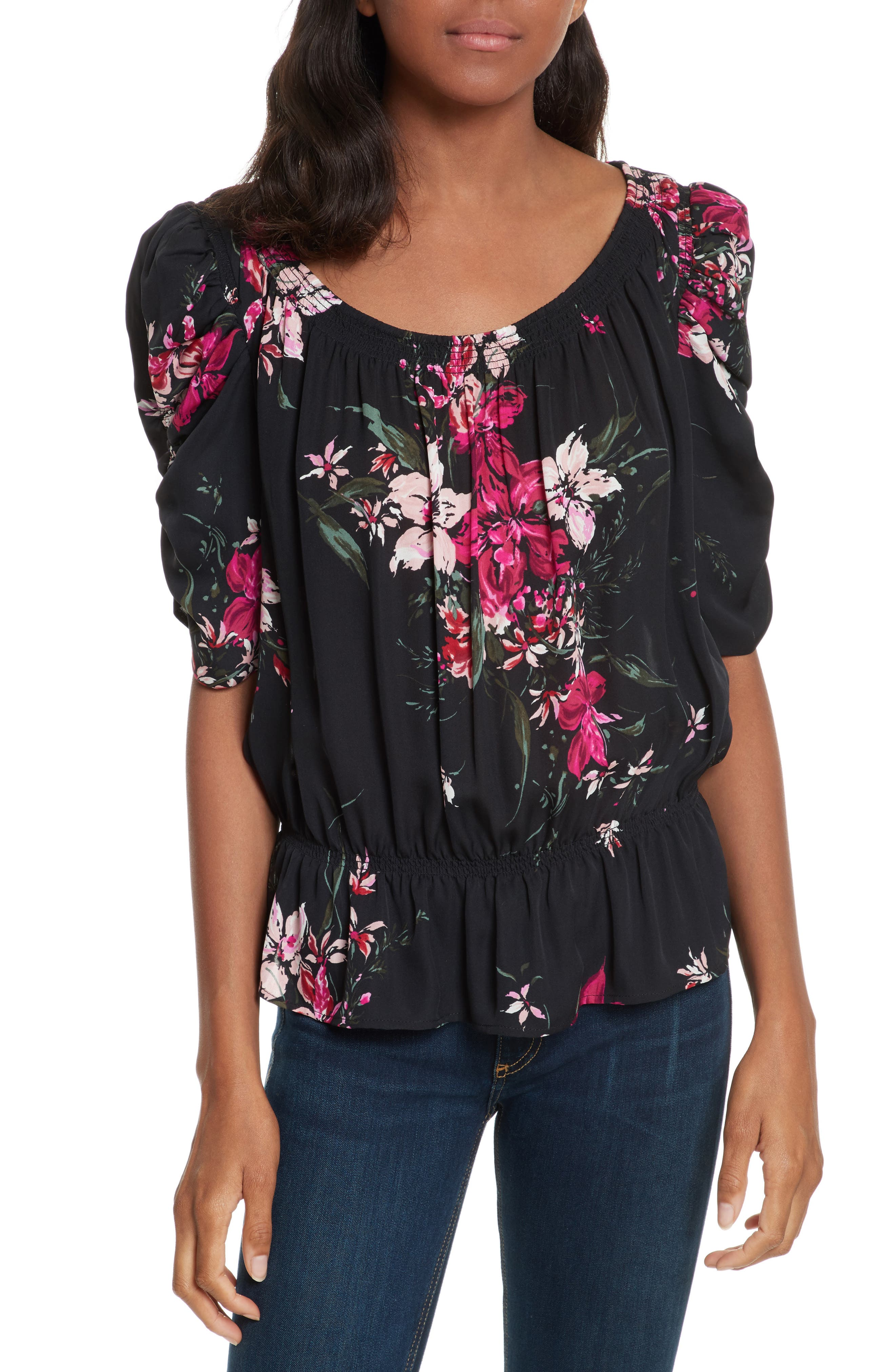 Kennon Ruched Sleeve Ruffle Hem Silk Top,                         Main,                         color,