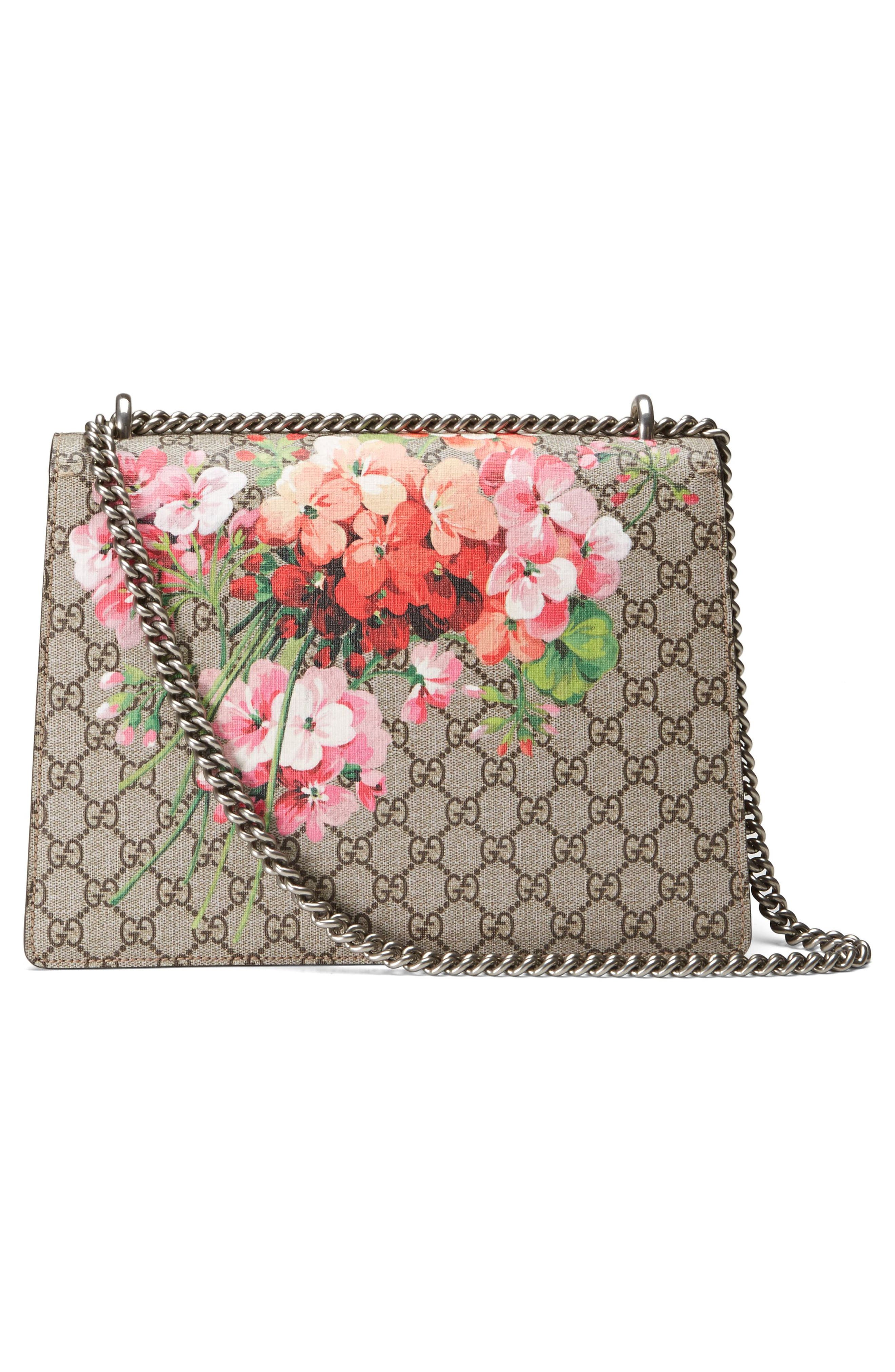 Large Floral GG Supreme Canvas & Suede Shoulder Bag,                             Alternate thumbnail 3, color,