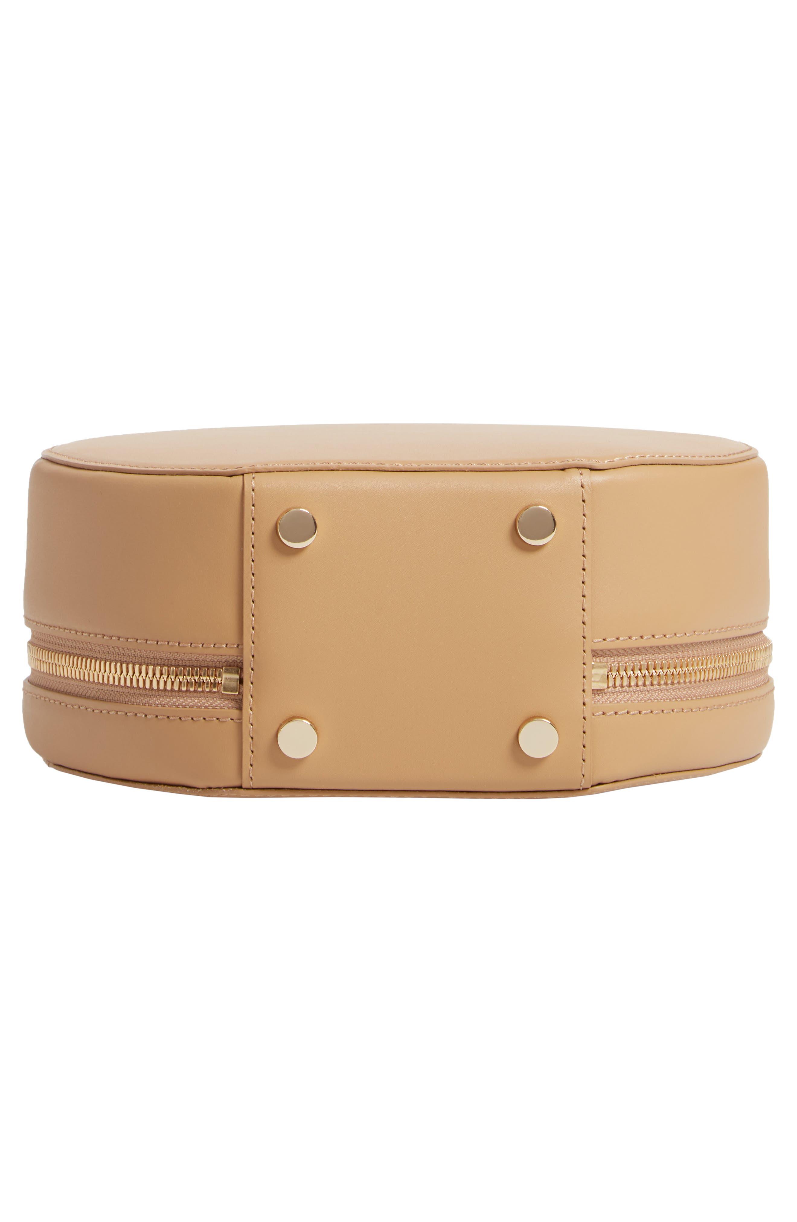 OAD NEW YORK,                             Mini Circle Pebbled Leather Satchel,                             Alternate thumbnail 6, color,                             LIGHT CAMEL