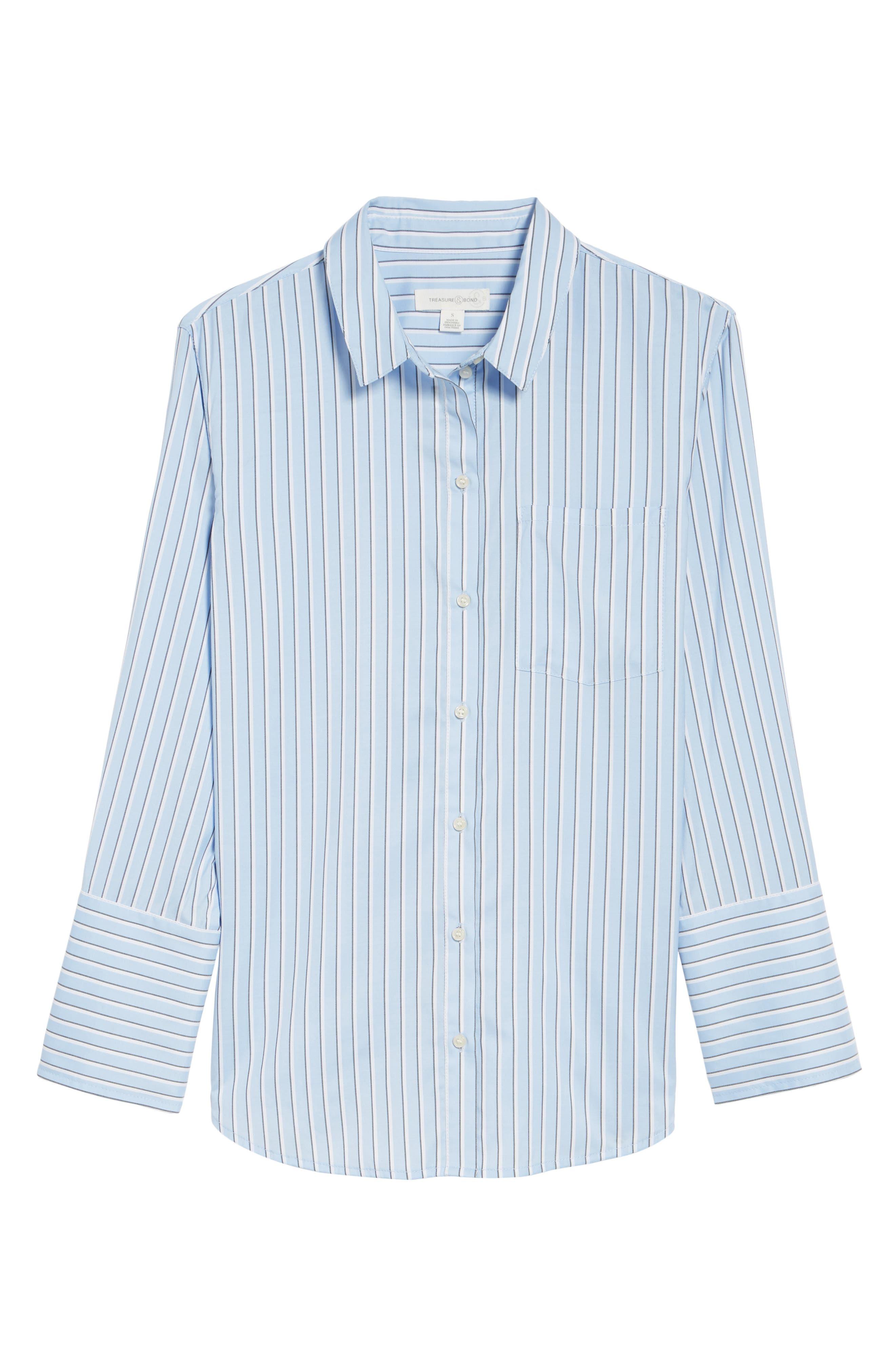 Stripe Button Front Shirt,                             Alternate thumbnail 6, color,                             420
