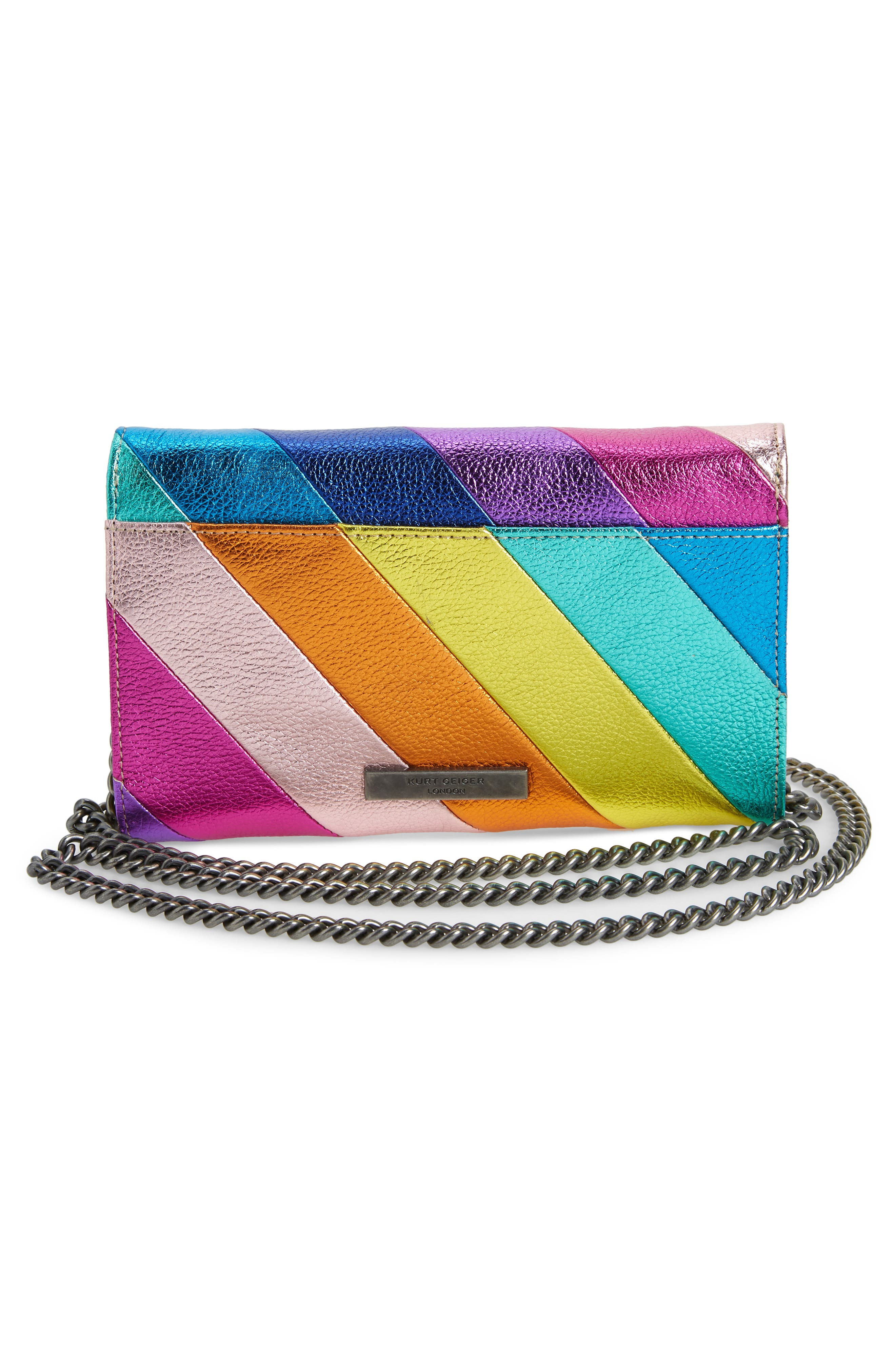 Stripe Leather Chain Wallet,                             Alternate thumbnail 3, color,                             MULTI/ OTHER