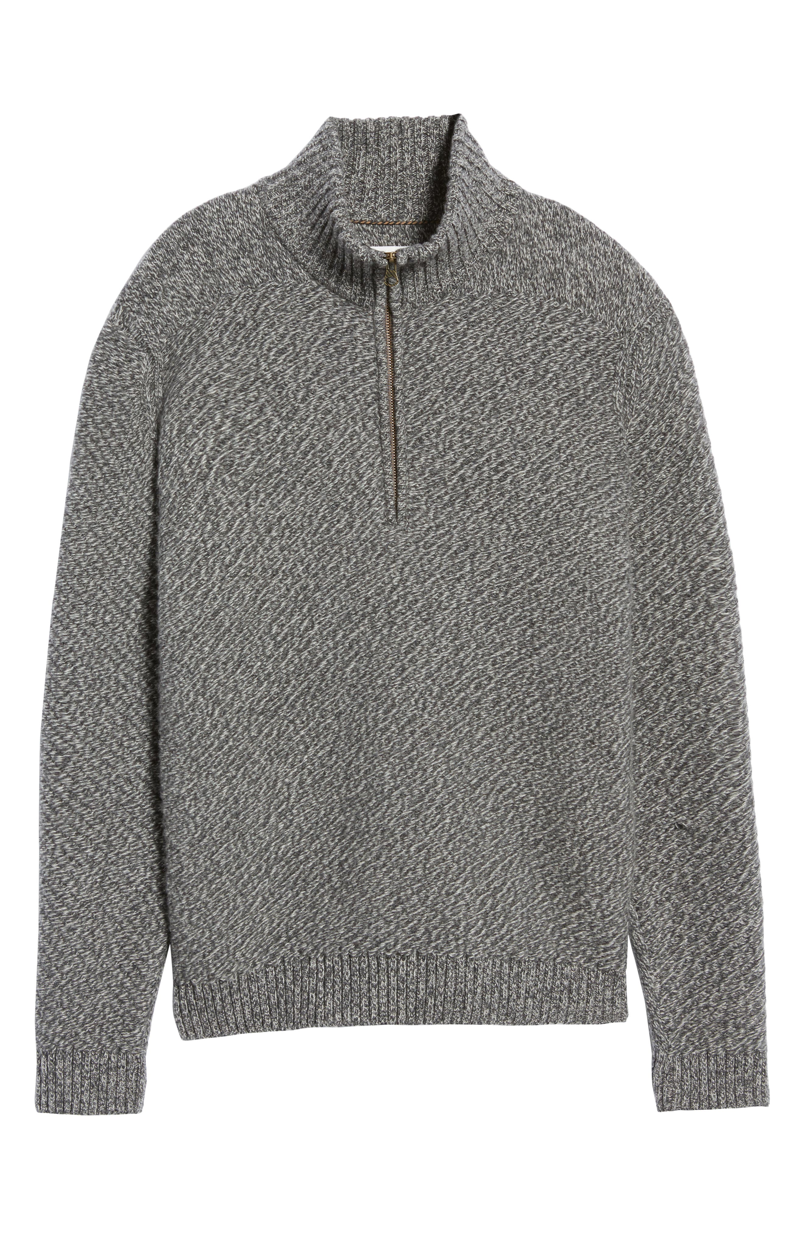 Cashmere Half Zip Sweater,                             Alternate thumbnail 6, color,                             CHARCOAL