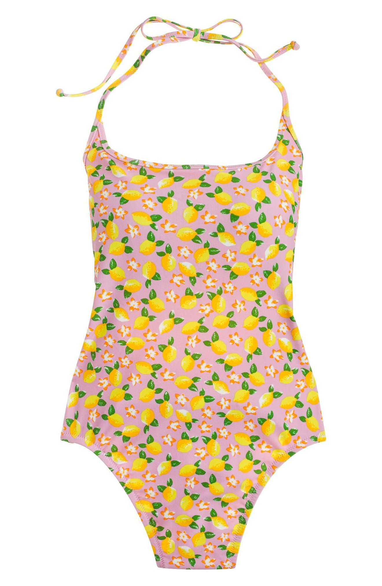 Lemon Print One-Piece Swimsuit,                             Alternate thumbnail 4, color,                             703