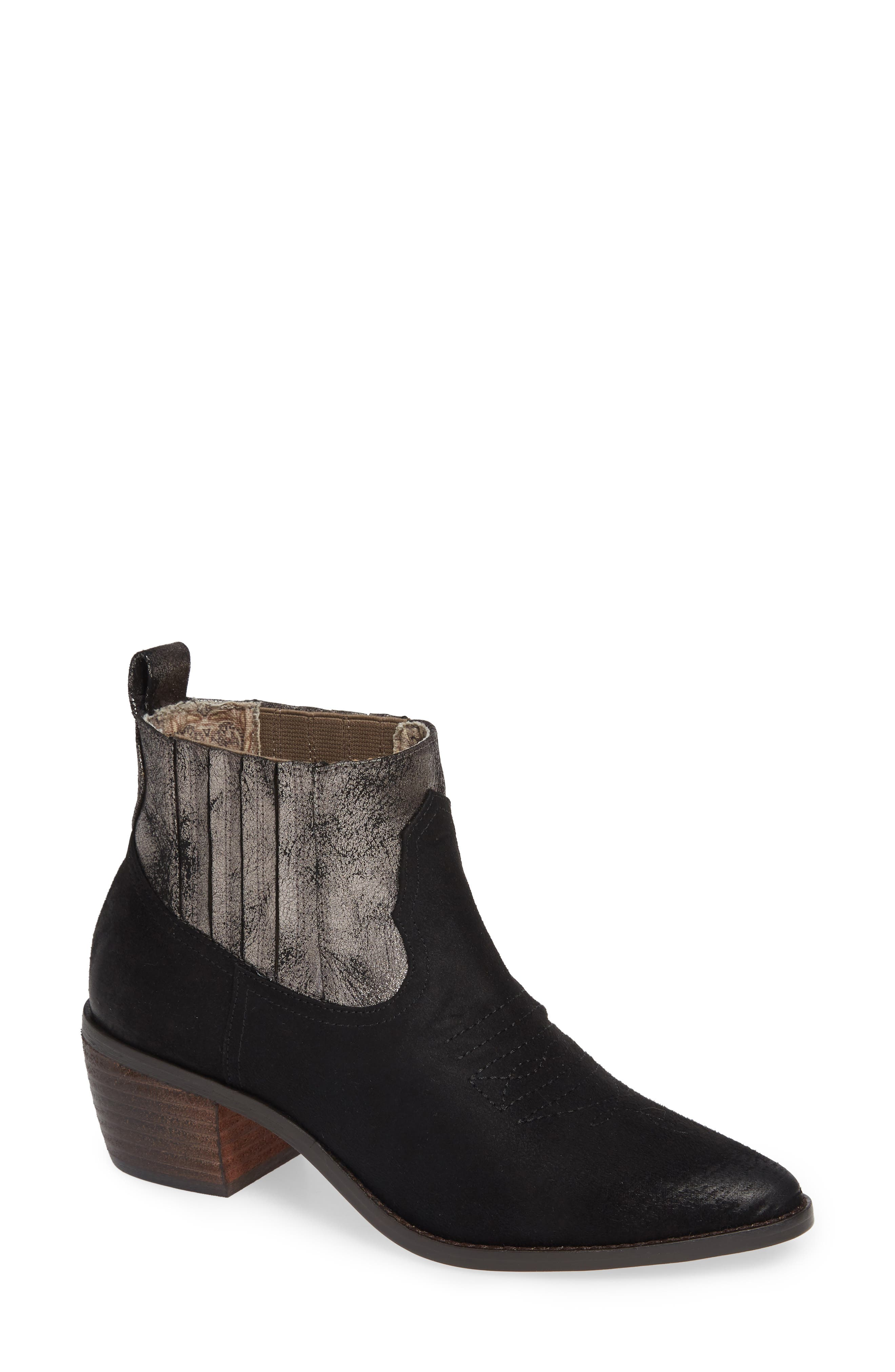 BAND OF GYPSIES Borderline Bootie in Black Faux Suede
