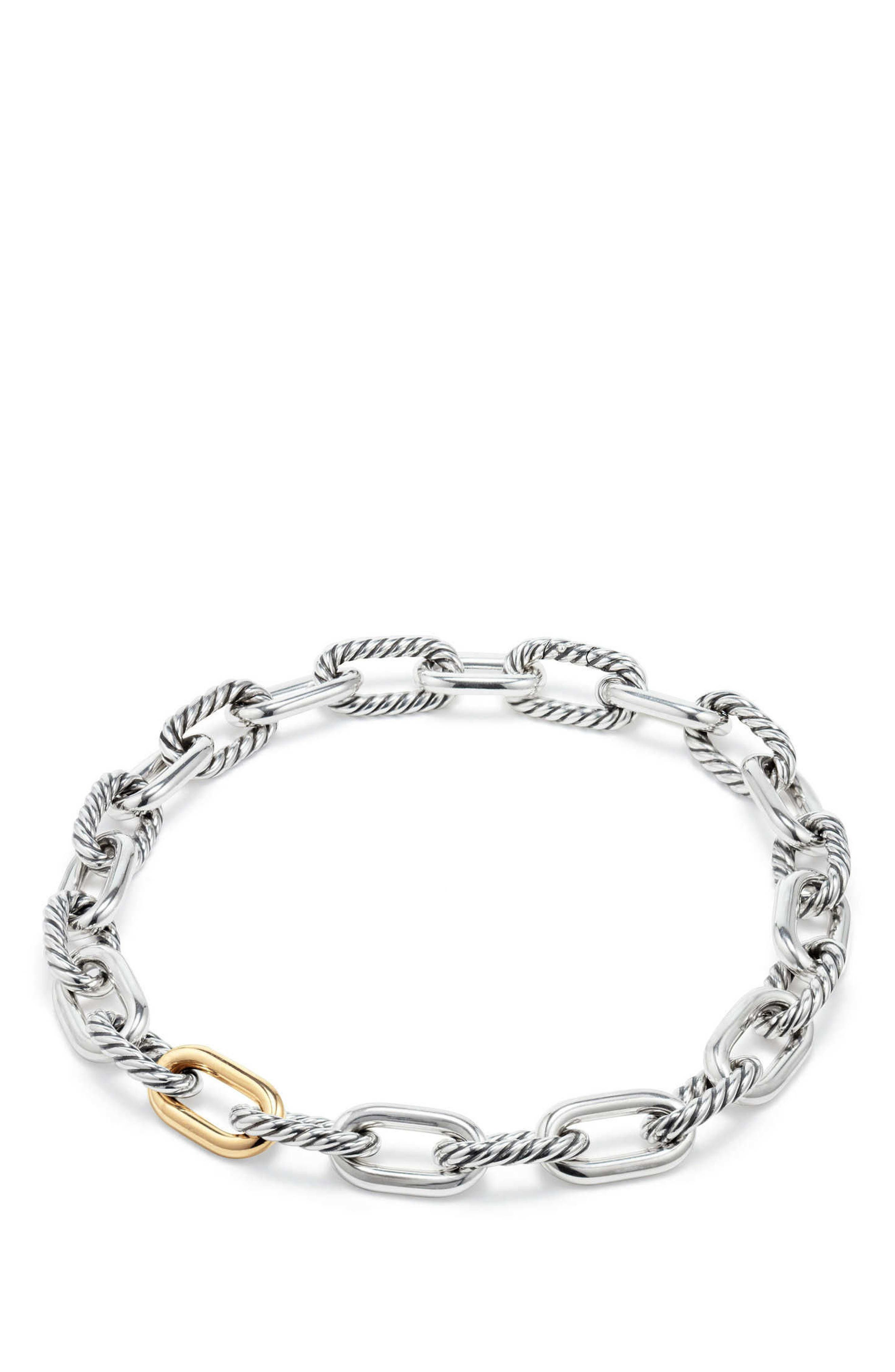 DY Madison Chain Large Necklace with 18K Gold,                             Alternate thumbnail 2, color,                             SILVER/ GOLD