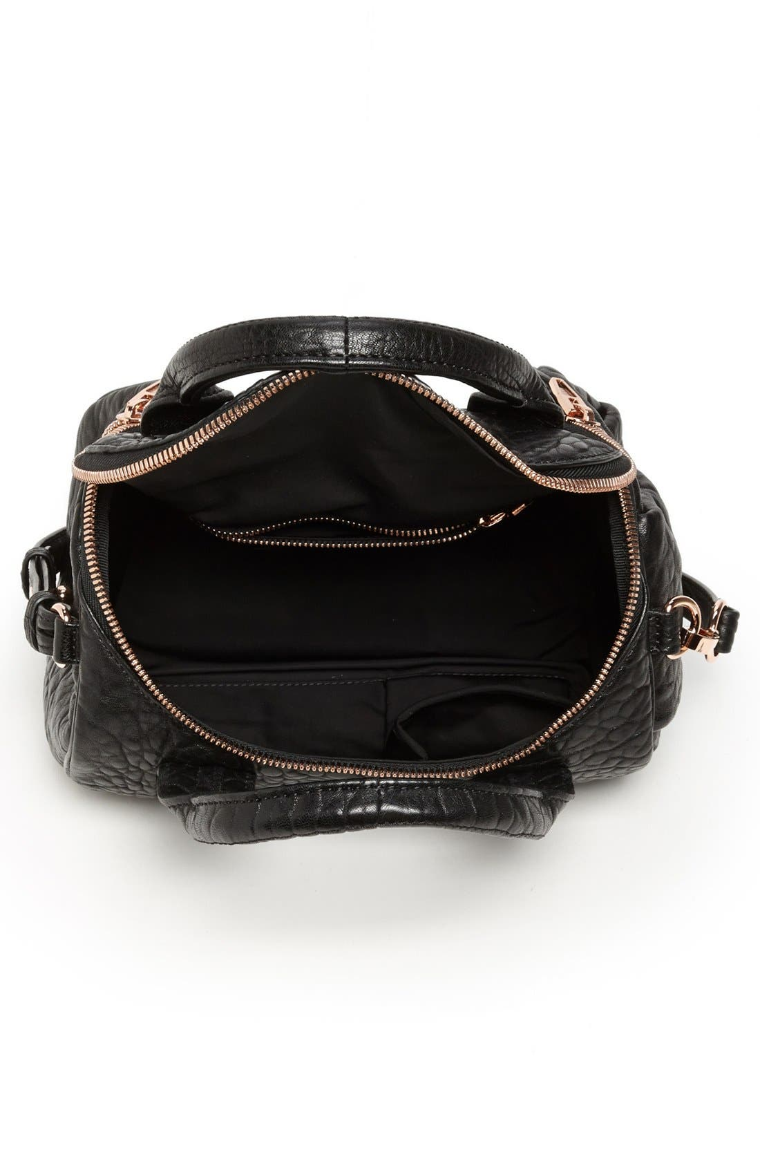 'Rockie - Rose Gold' Leather Crossbody Satchel,                             Alternate thumbnail 3, color,                             001