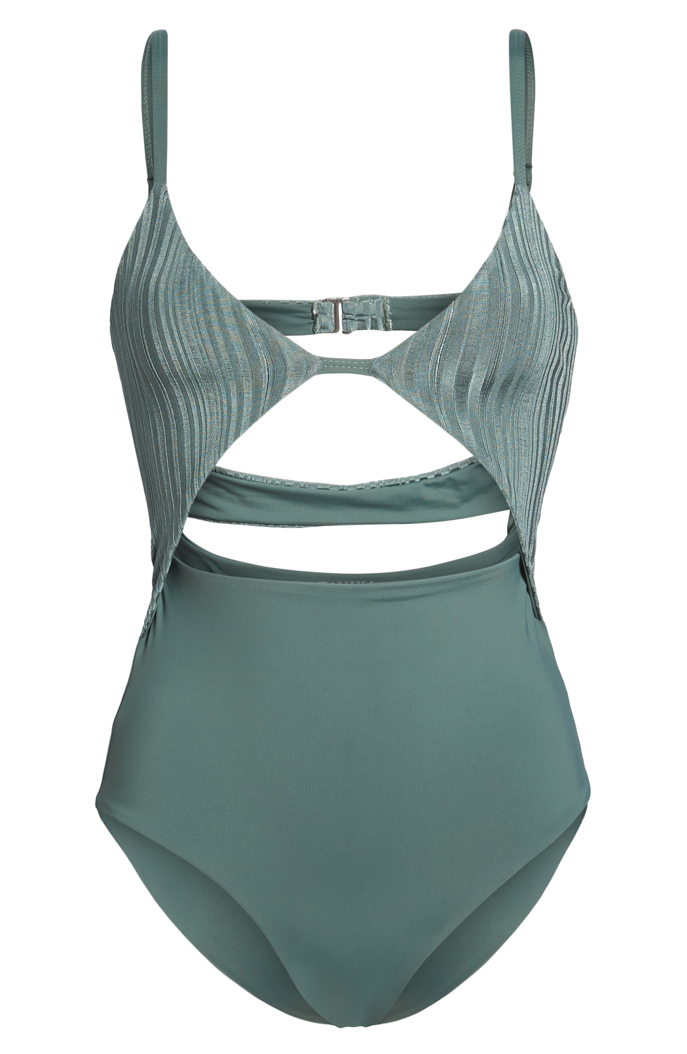 Penelope Cutout One-Piece Swimsuit,                             Alternate thumbnail 6, color,                             MEADOW GREEN