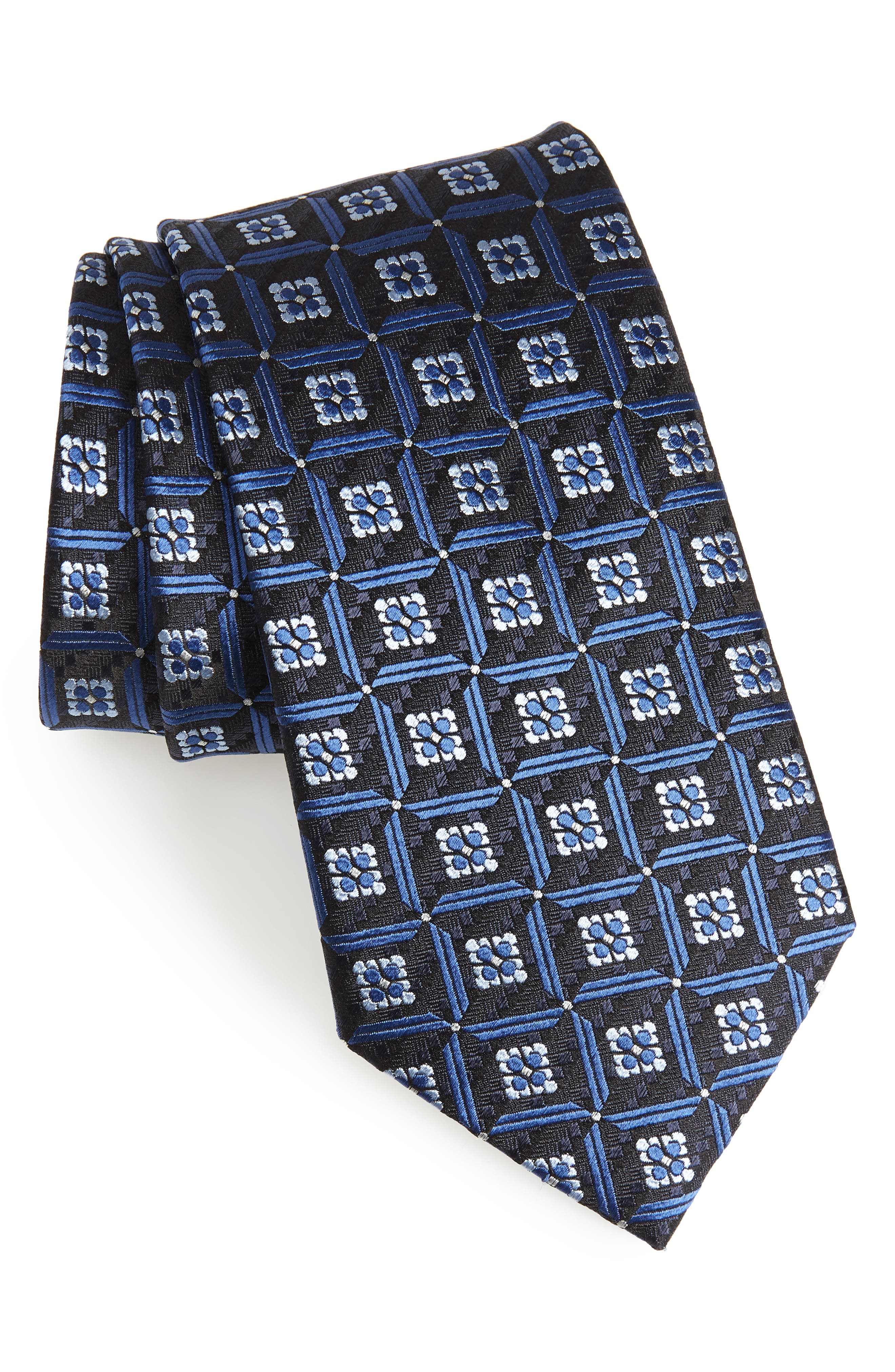 Geometric Silk Tie,                             Main thumbnail 1, color,                             418