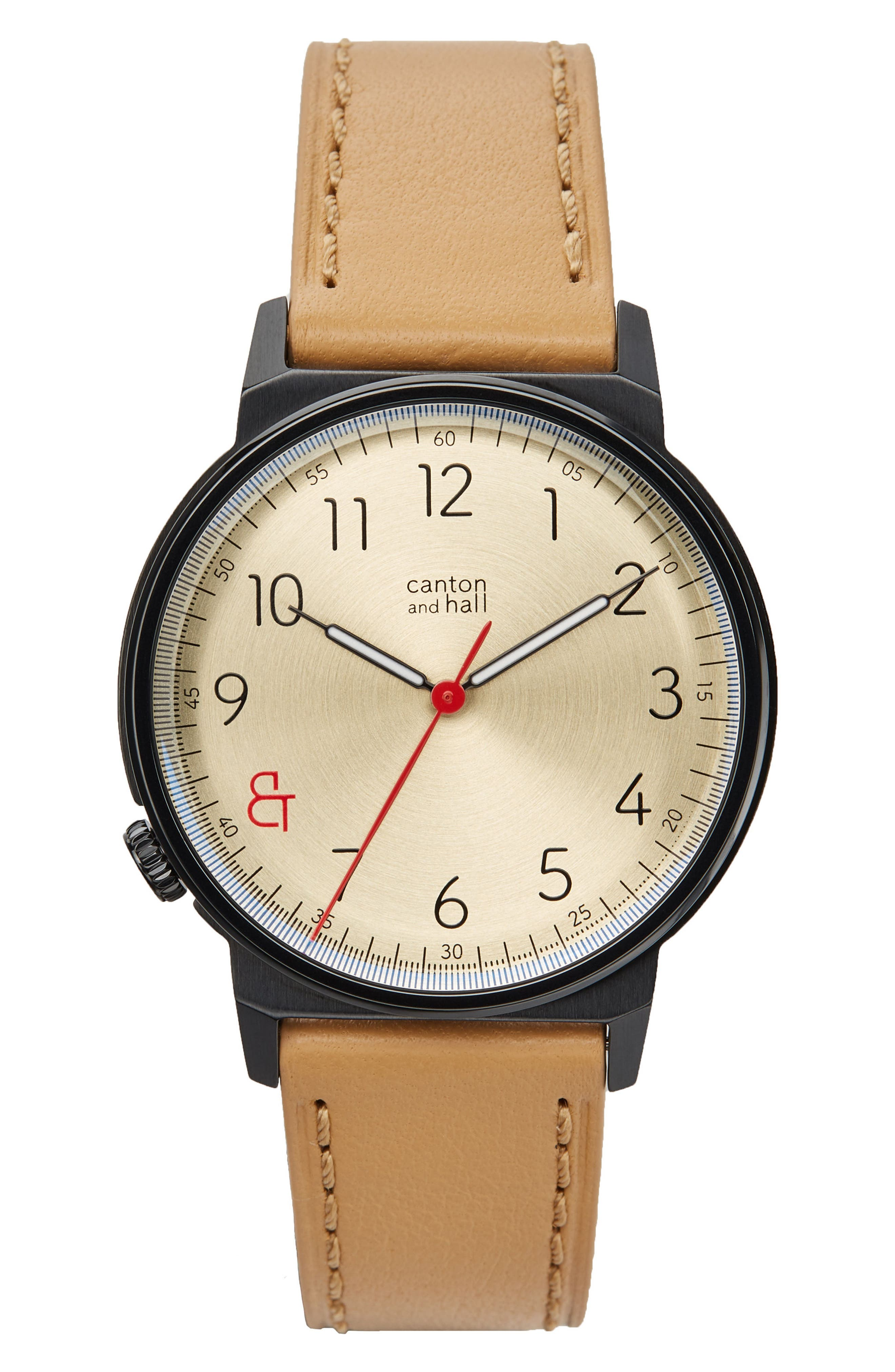 Davis Slim Leather Strap Watch, 40mm,                             Main thumbnail 1, color,                             GOLD/ CAMEL
