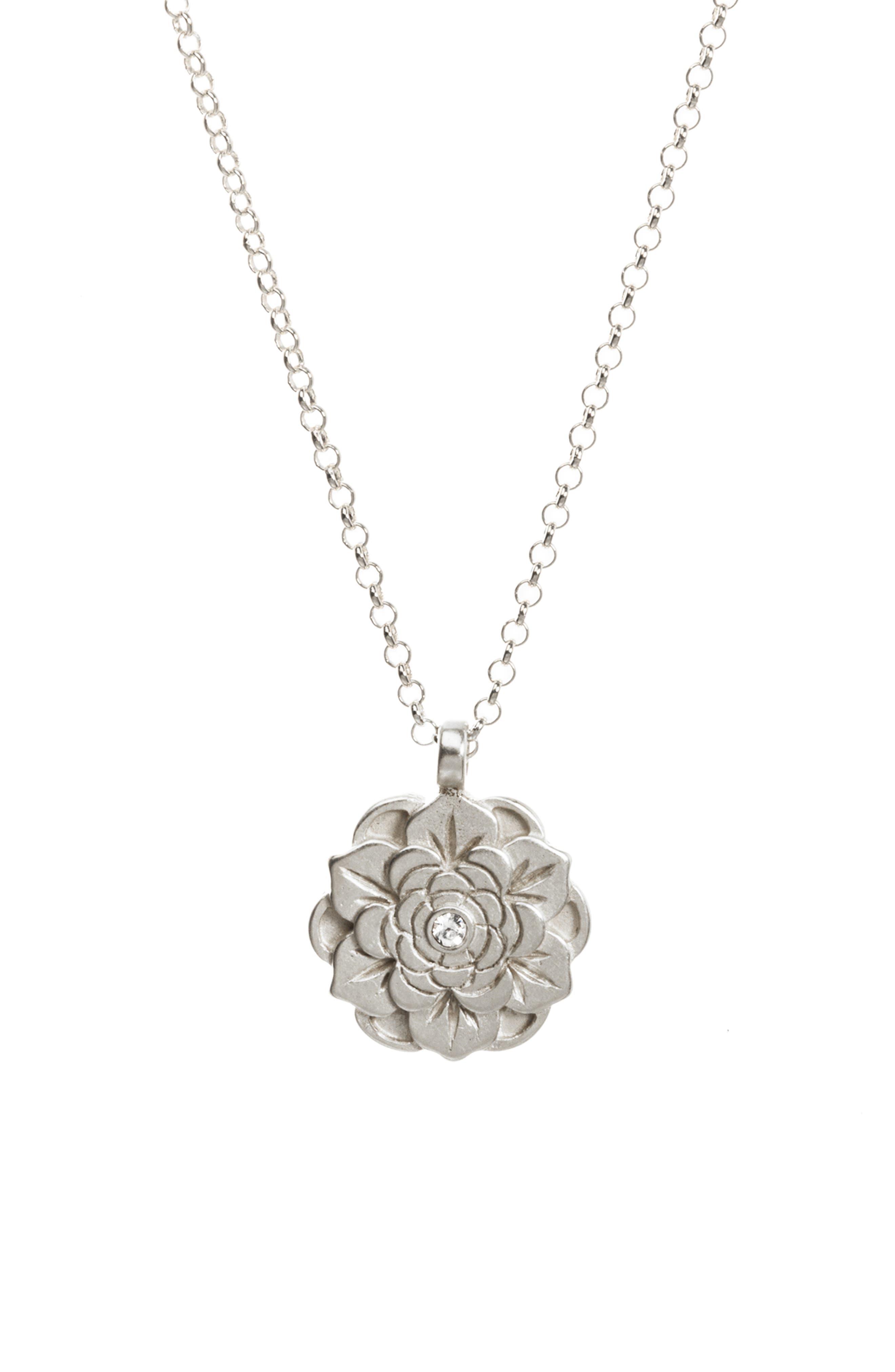 Beautiful Beginnings Lotus Pendant Necklace,                             Alternate thumbnail 3, color,                             040