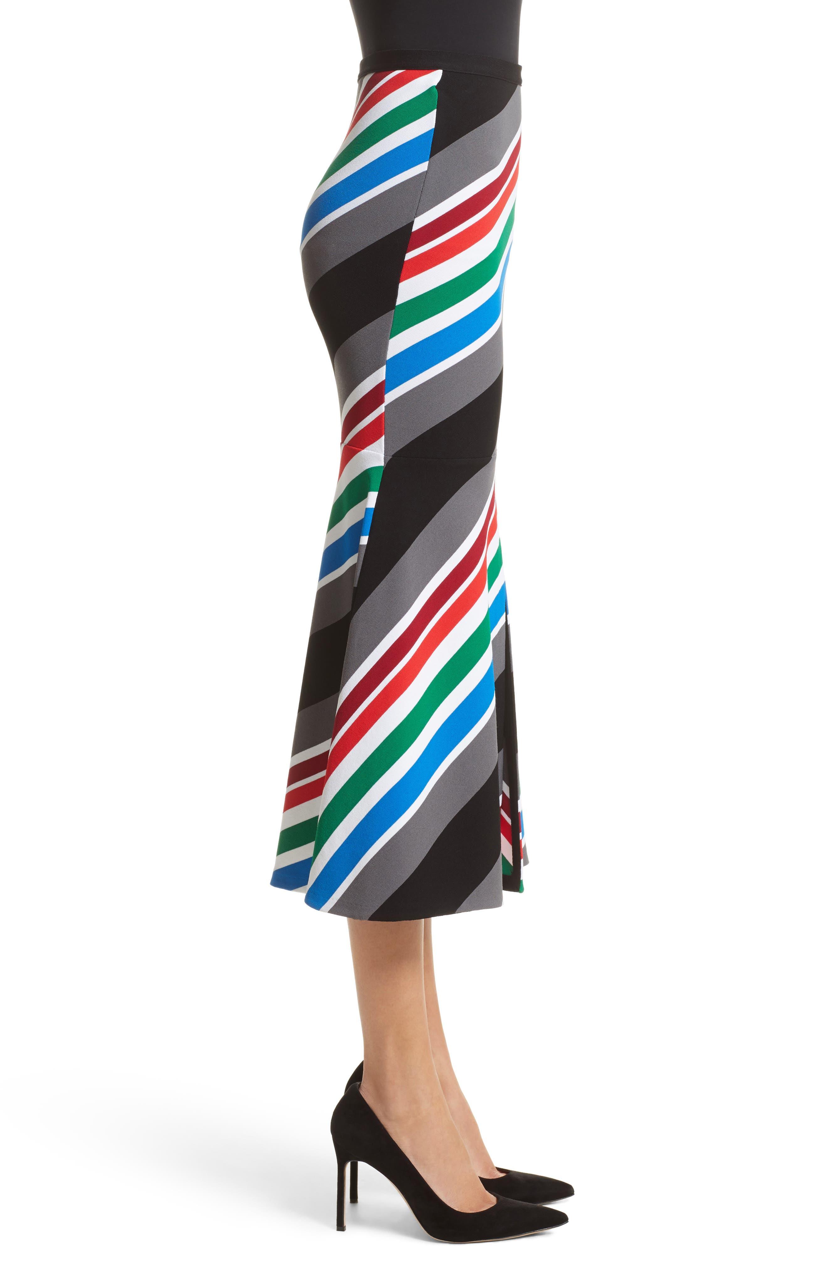 Compact Knit Stripe Skirt,                             Alternate thumbnail 3, color,                             960