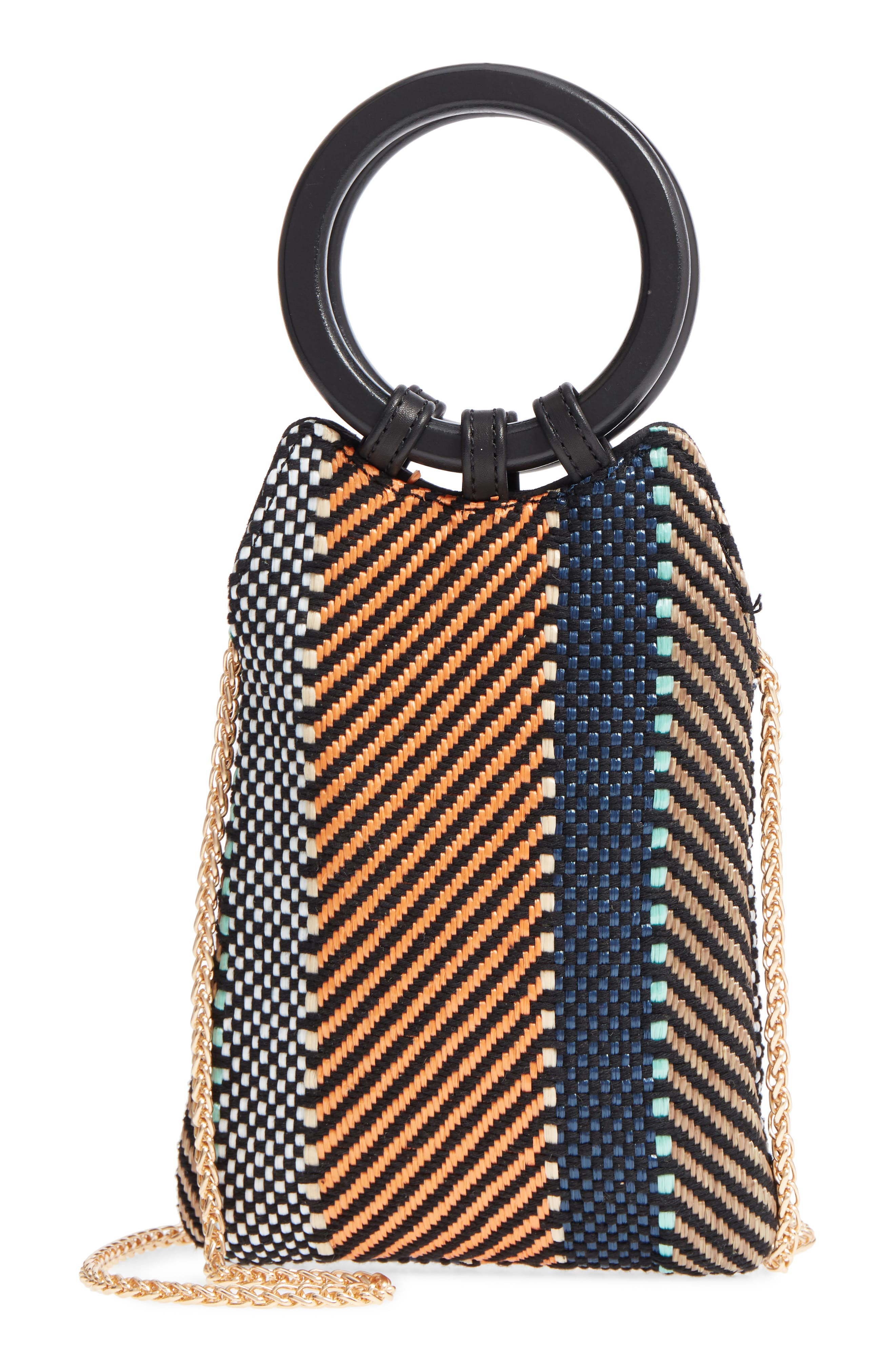 Mini Woven Top Handle Bag,                             Main thumbnail 1, color,                             MULTI