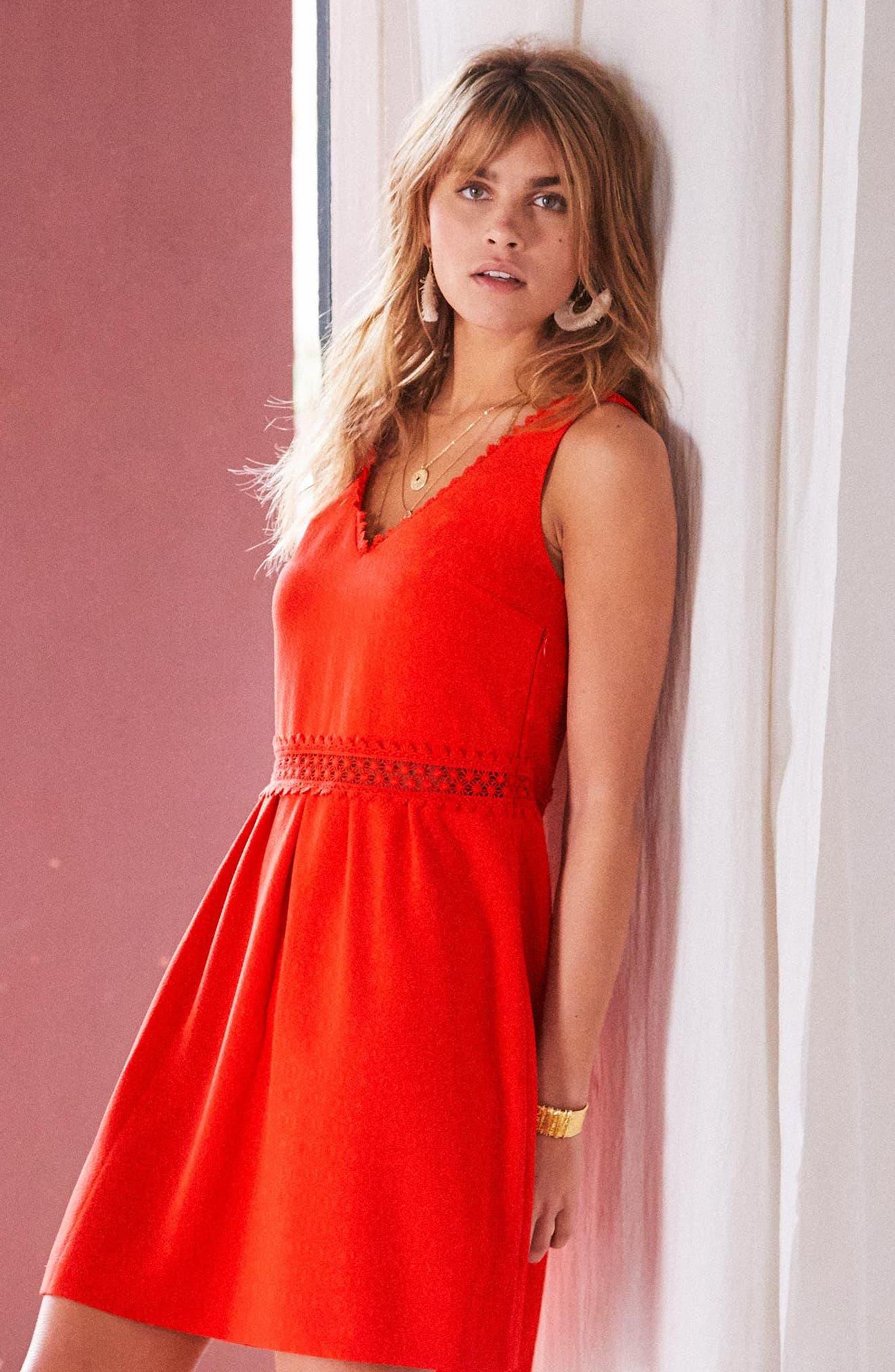 Daniela Lace Trim A-Line Dress,                             Alternate thumbnail 6, color,