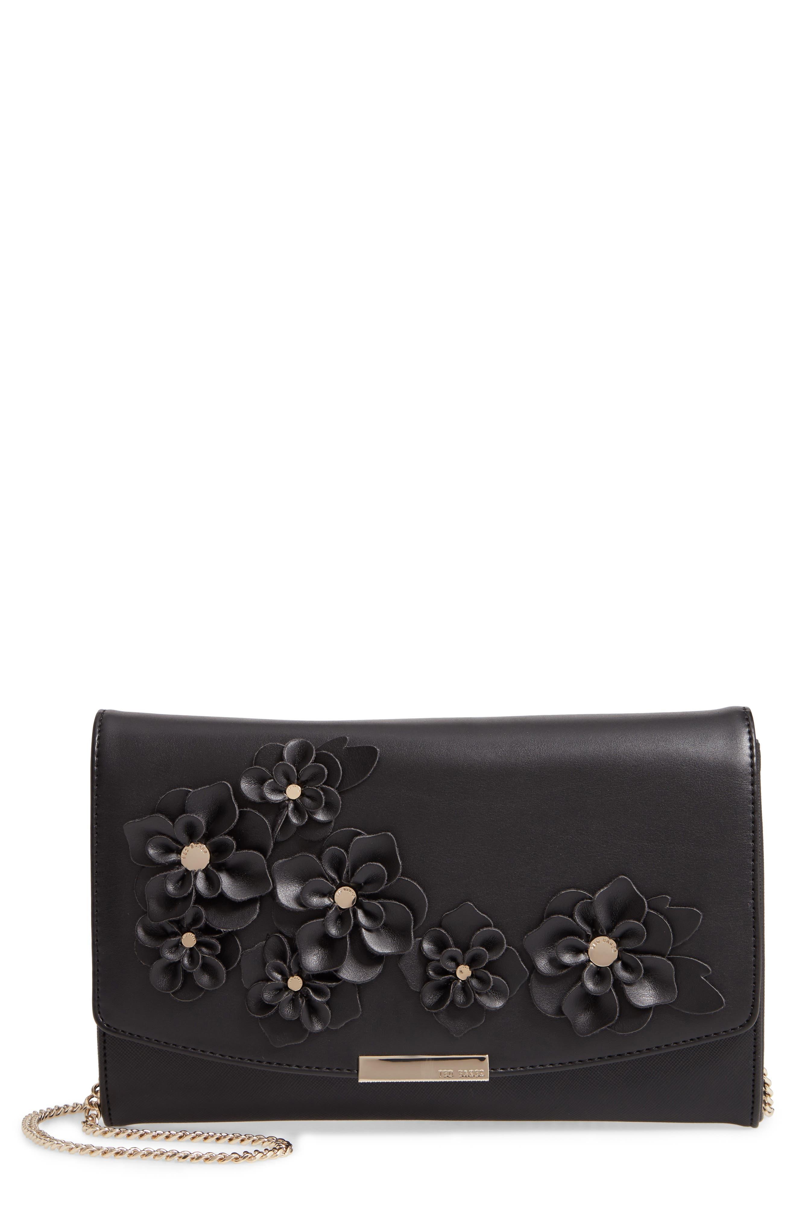 Floral Appliqué Faux Leather Clutch,                         Main,                         color, BLACK