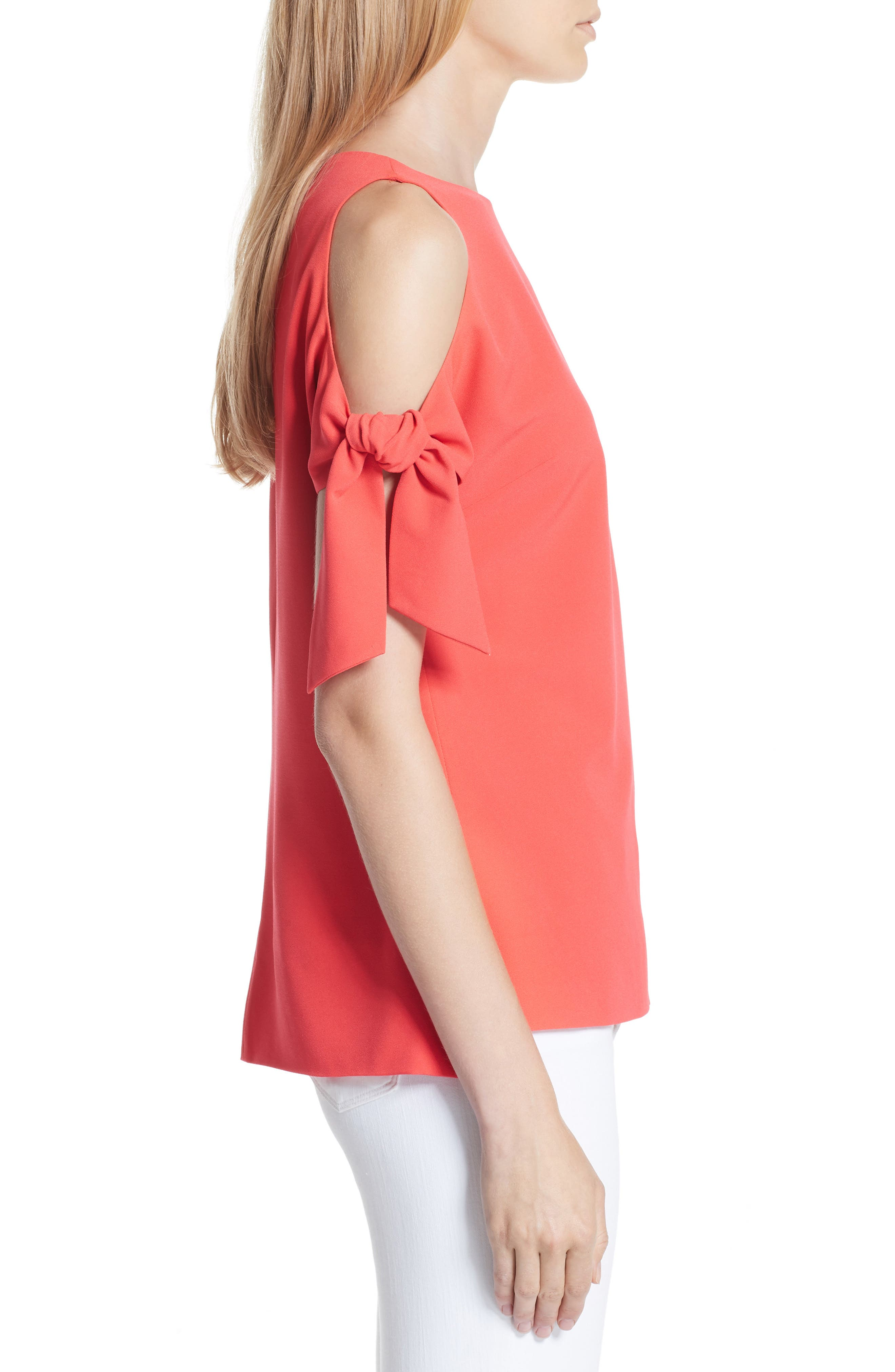 Yaele Cold Shoulder Top,                             Alternate thumbnail 3, color,                             BRIGHT RED