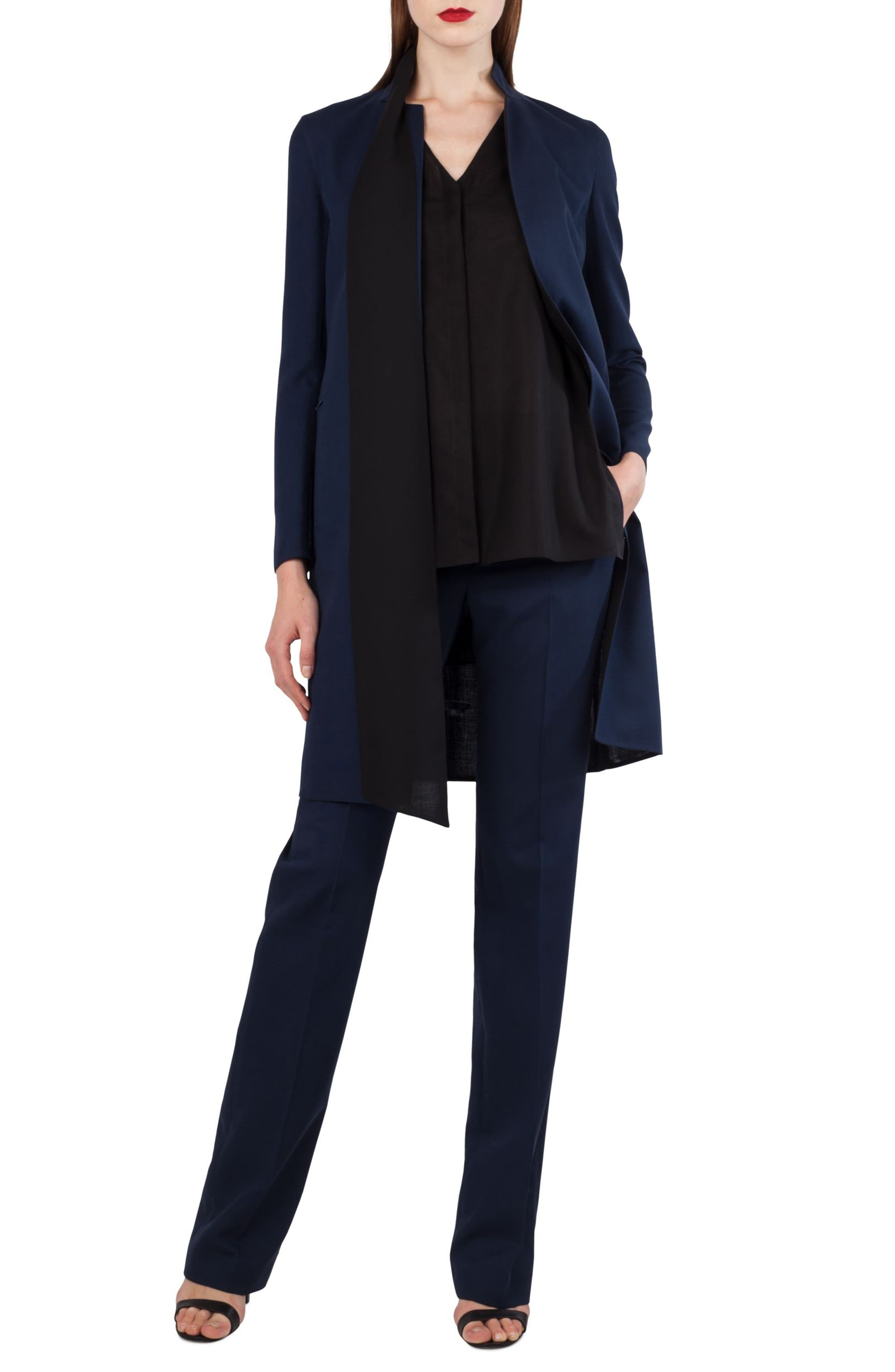 Reversible Stretch Wool & Silk Coat,                             Alternate thumbnail 4, color,                             DENIM SCHWARZ