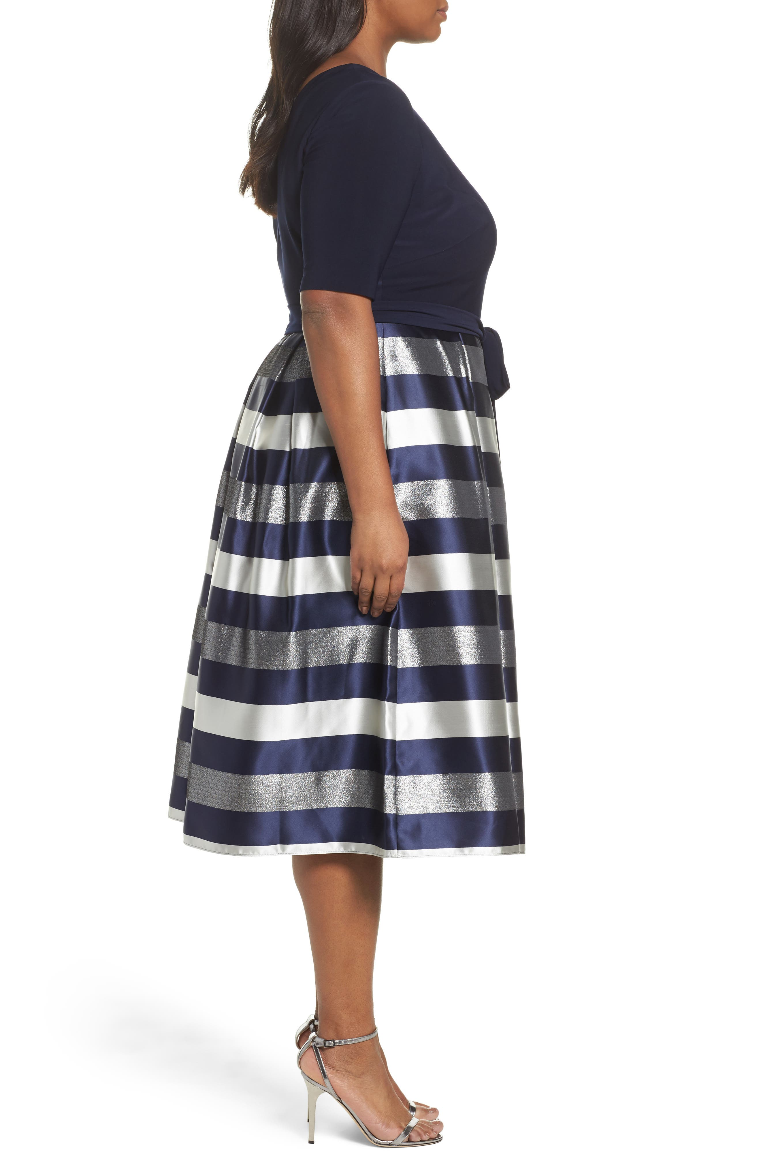 Mixed Media Fit & Flare Dress,                             Alternate thumbnail 3, color,                             473