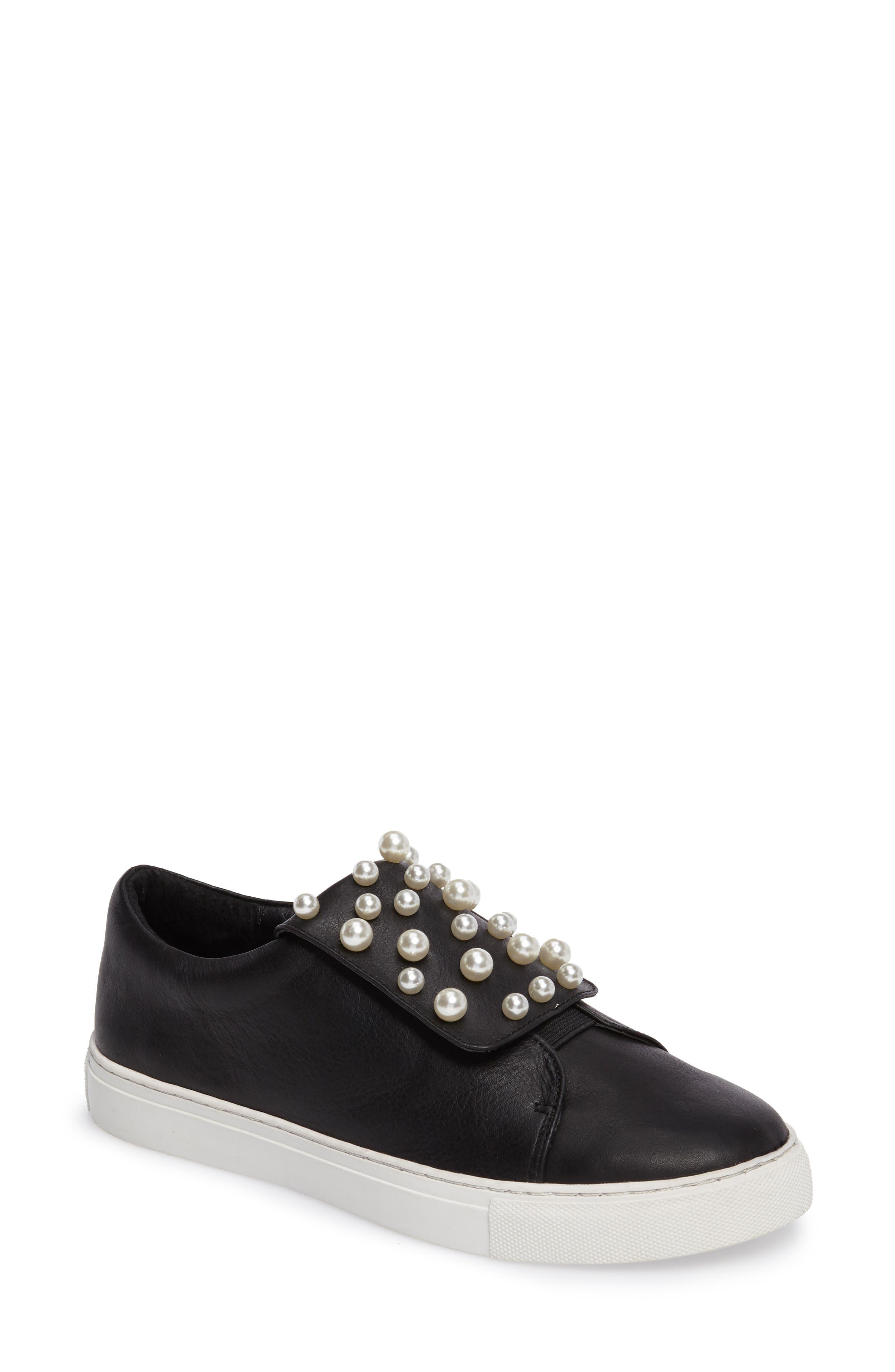 Hadi Imitation Pearl Embellished Platorm Sneaker,                             Main thumbnail 1, color,                             001
