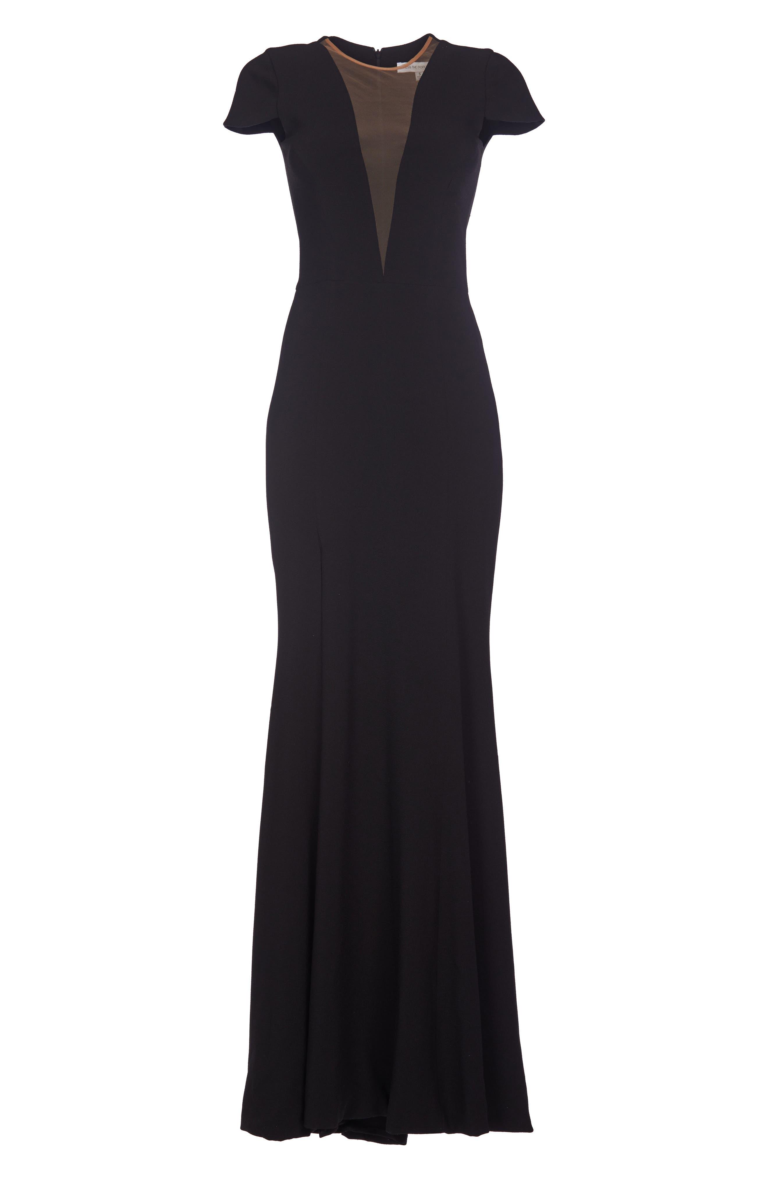 Leah Illusion Inset Crepe Gown,                             Alternate thumbnail 4, color,                             BLACK